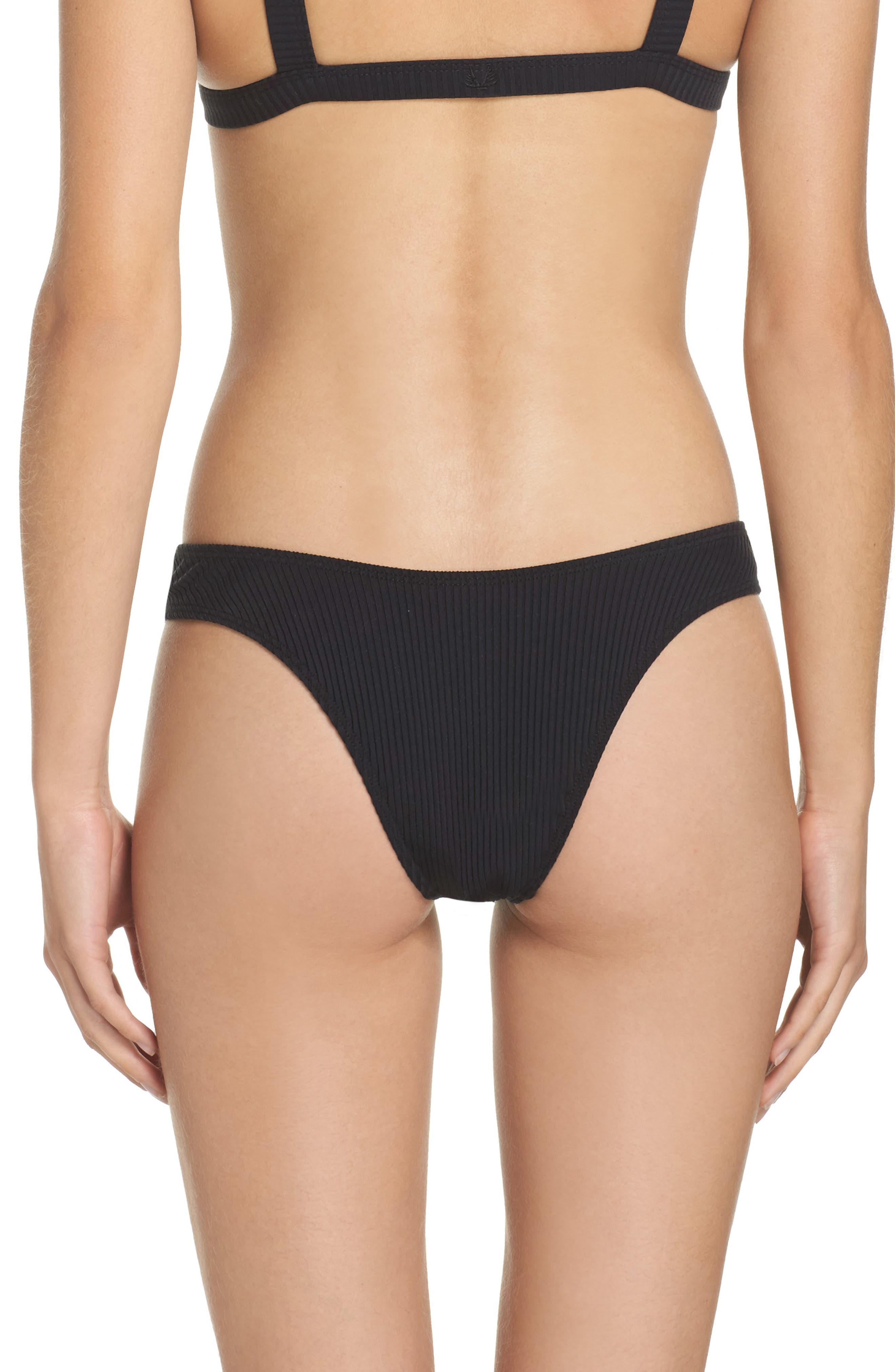Ribbed Bikini Bottoms,                             Alternate thumbnail 2, color,                             001