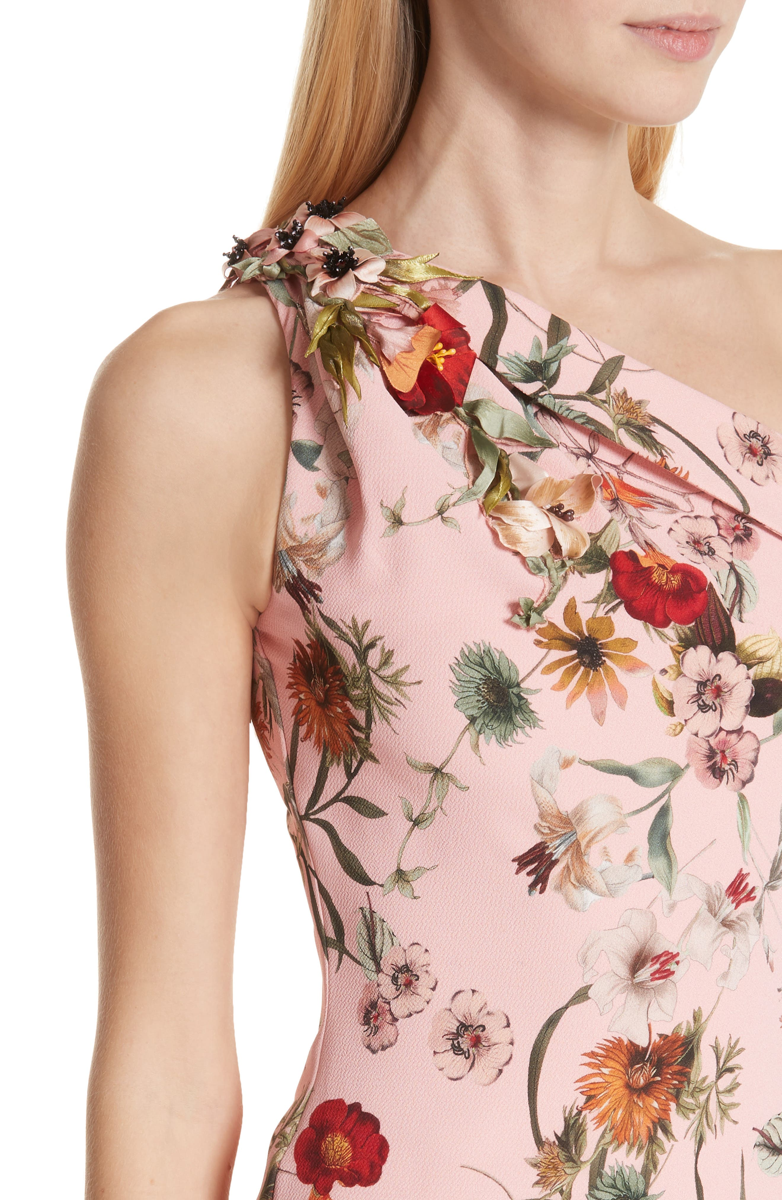 BADGLEY MISCHKA COLLECTION,                             Badgley Mischka One-Shoulder Floral Evening Dress,                             Alternate thumbnail 4, color,                             650