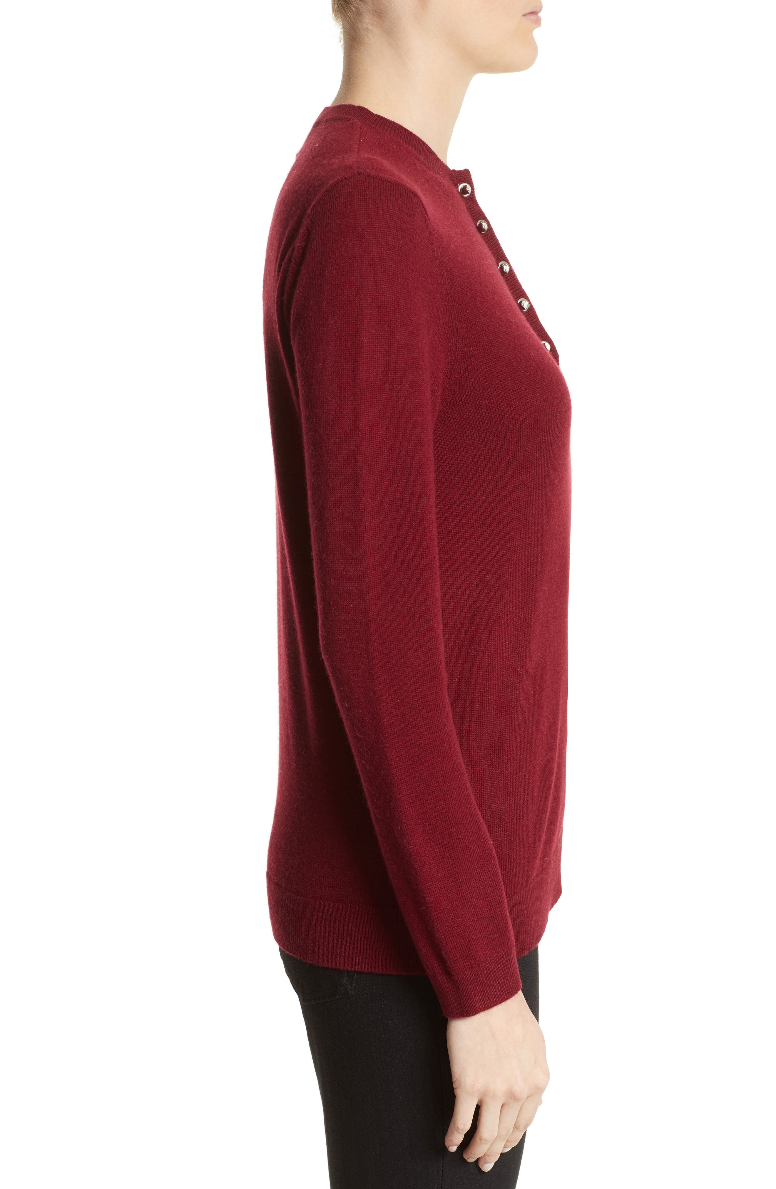 Pierced Collar Wool & Cashmere Pullover,                             Alternate thumbnail 3, color,                             600