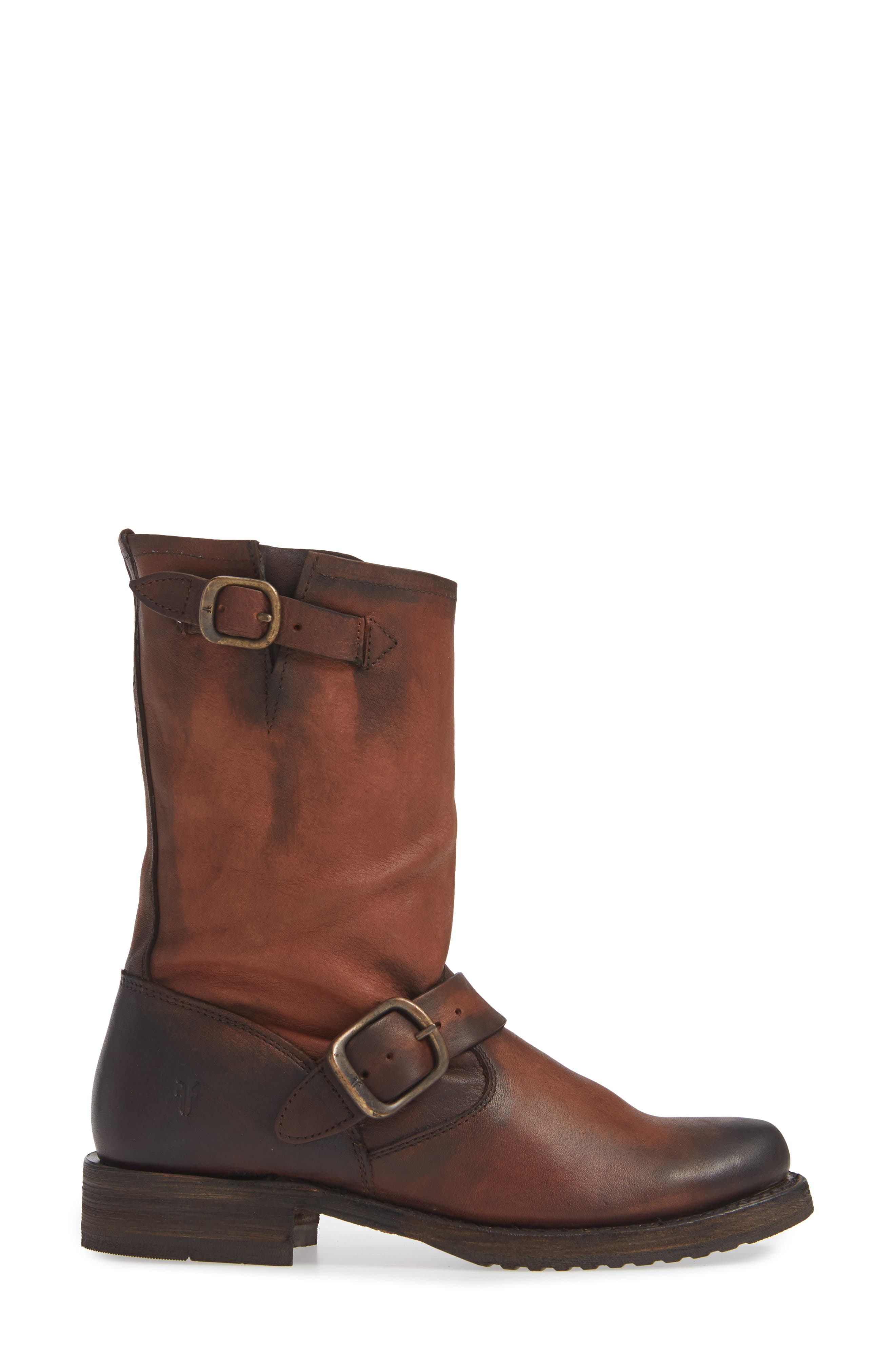 'Veronica' Short Boot,                             Alternate thumbnail 3, color,                             REDWOOD LEATHER