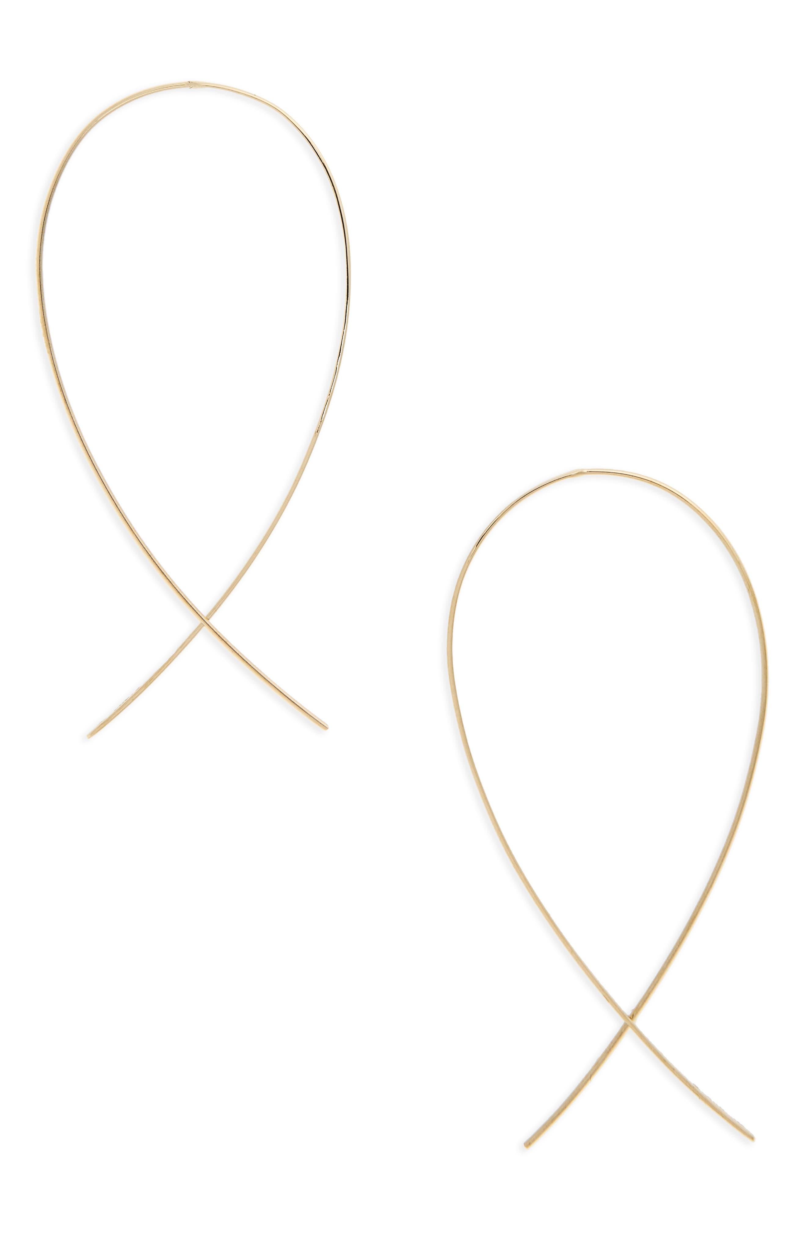 Medium Upside Down Hoop Earrings,                         Main,                         color, YELLOW GOLD