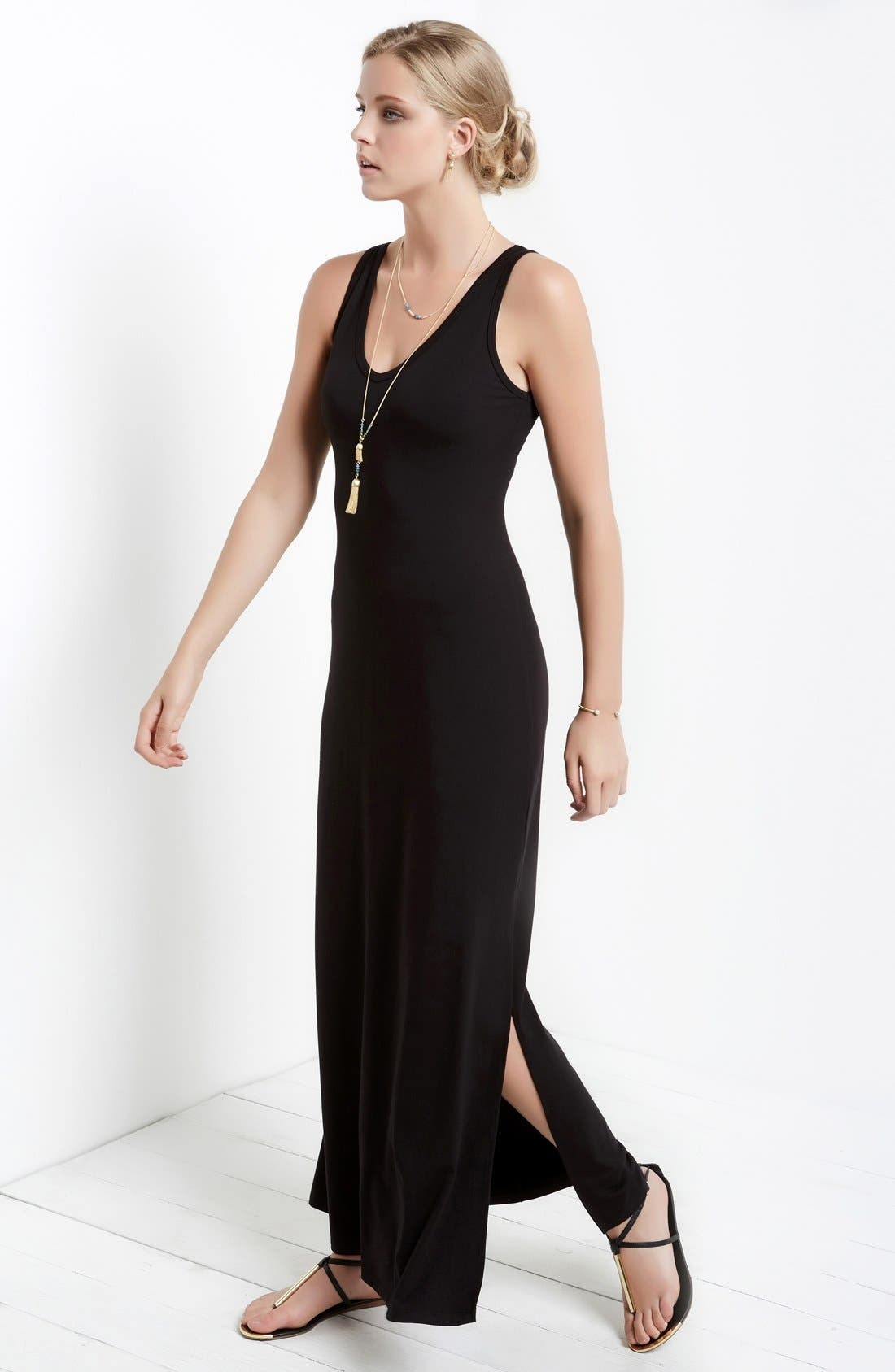 'Alana' Double V-Neck Maxi Dress,                             Alternate thumbnail 3, color,                             BLACK