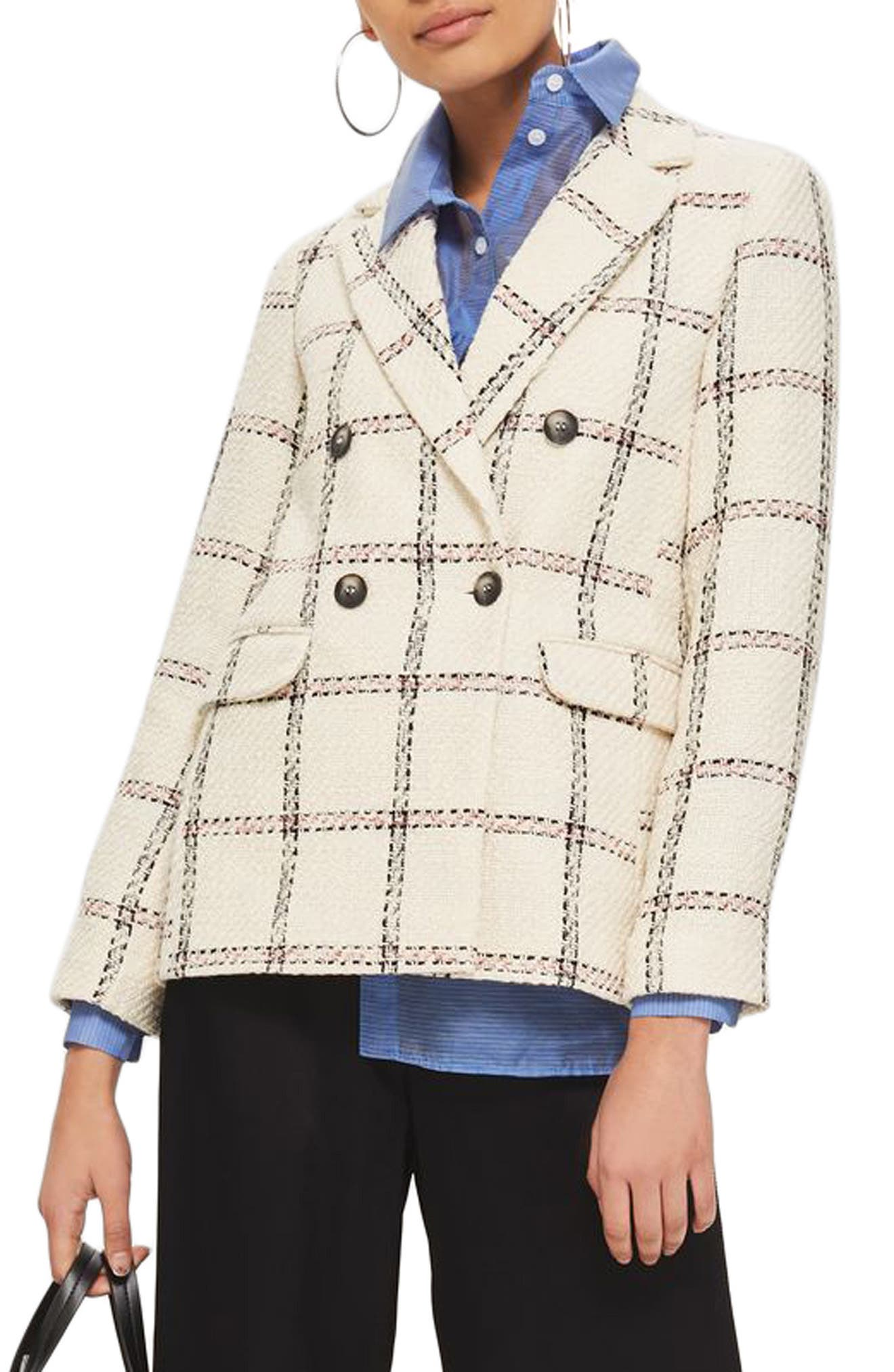 TOPSHOP Check Double Breasted Blazer, Main, color, 900