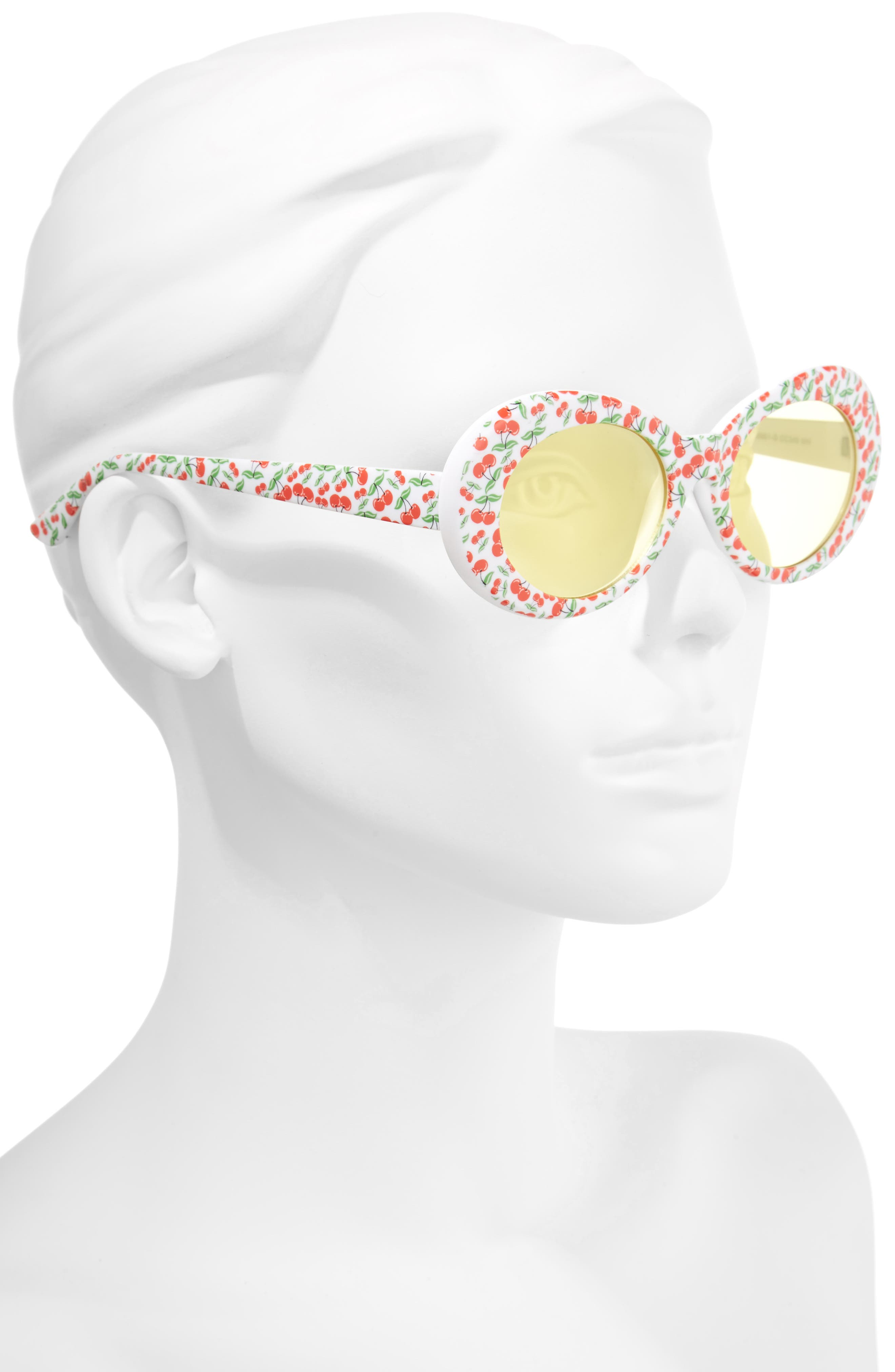 50mm Cherry Print Oval Sunglasses,                             Alternate thumbnail 4, color,