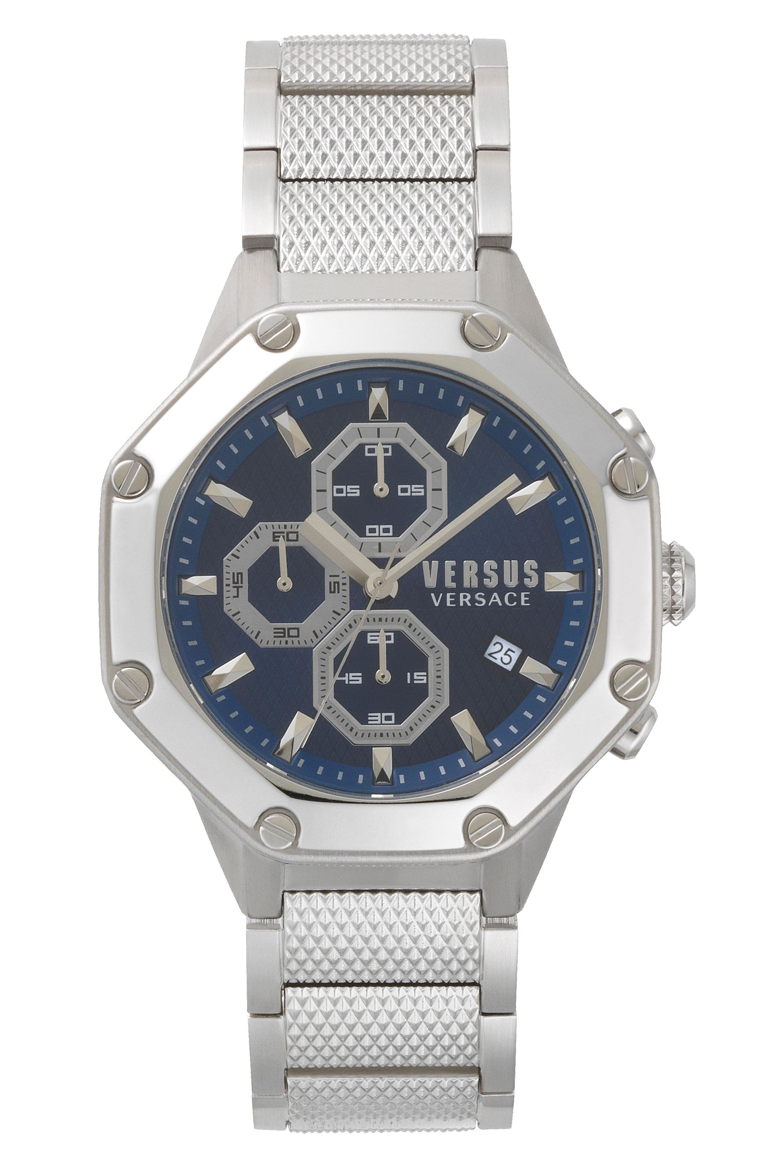 VERSUS by Versace Kowloon Chronograph Bracelet Watch, 45mm,                             Main thumbnail 1, color,                             SILVER/ BLUE/ SILVER