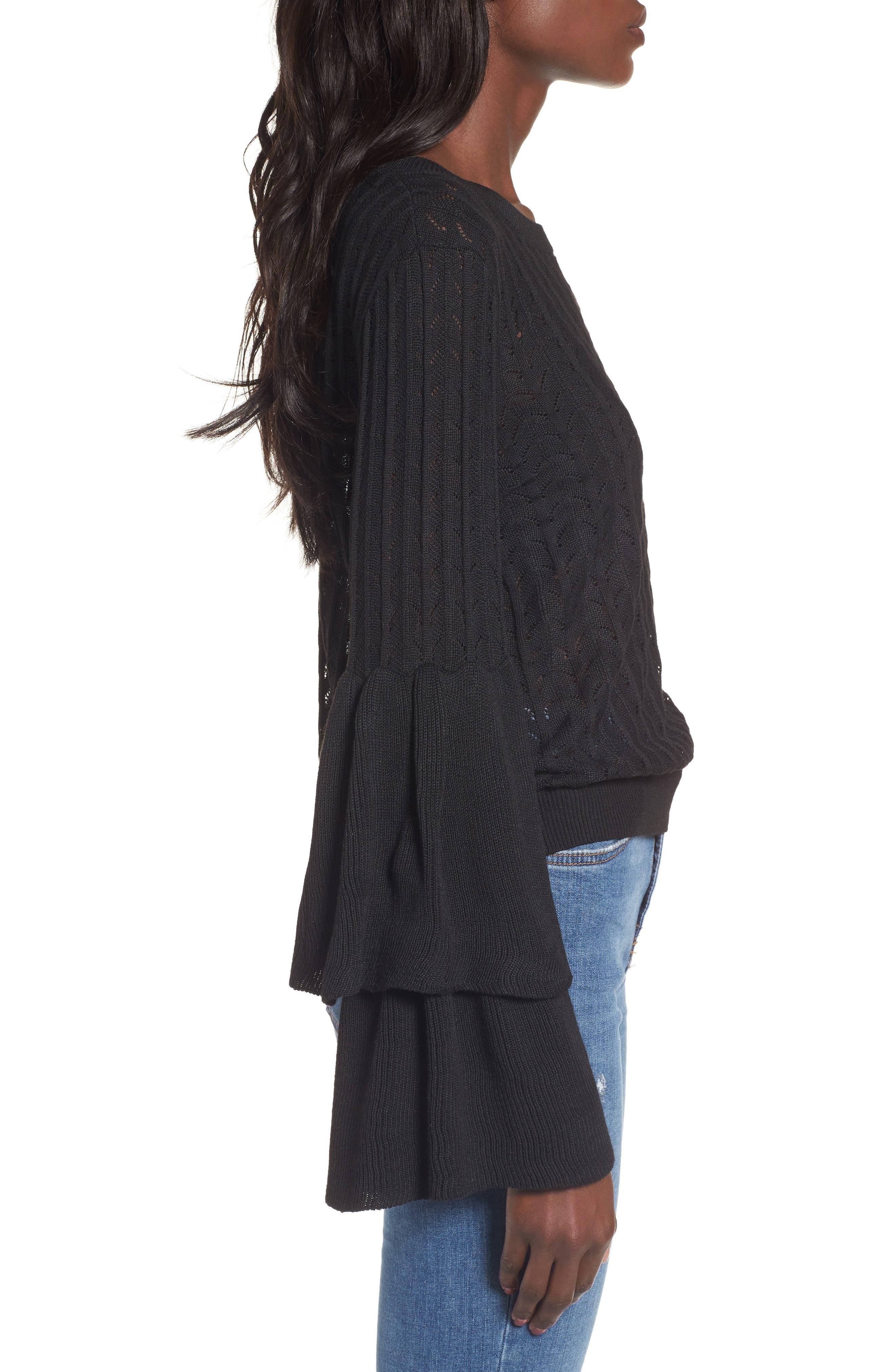 Molly Ruffle Sweater,                             Alternate thumbnail 3, color,                             001