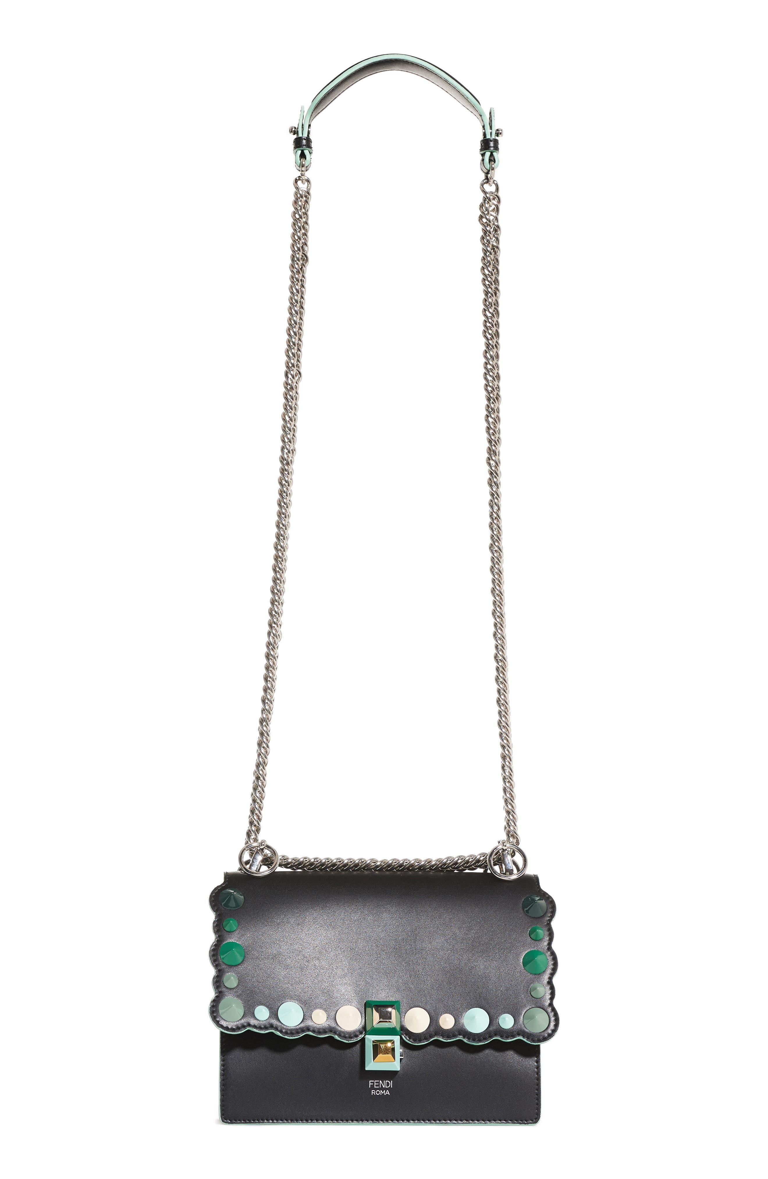 Mini Kan I Dégradé Stud Calfskin Shoulder Bag,                             Main thumbnail 1, color,                             BLACK/GREEN MULTI