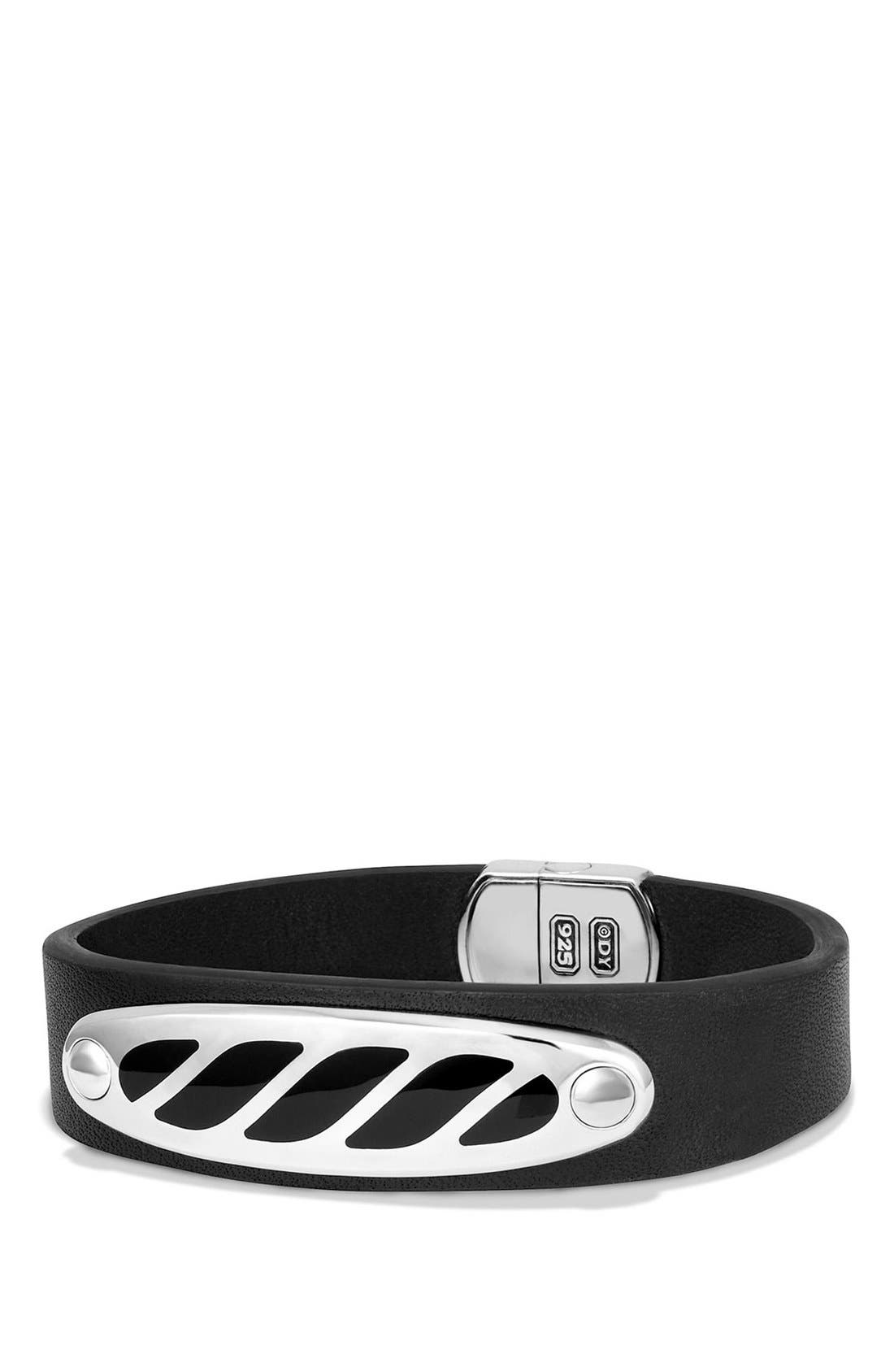 Graphic Cable Leather ID Bracelet,                         Main,                         color, 041