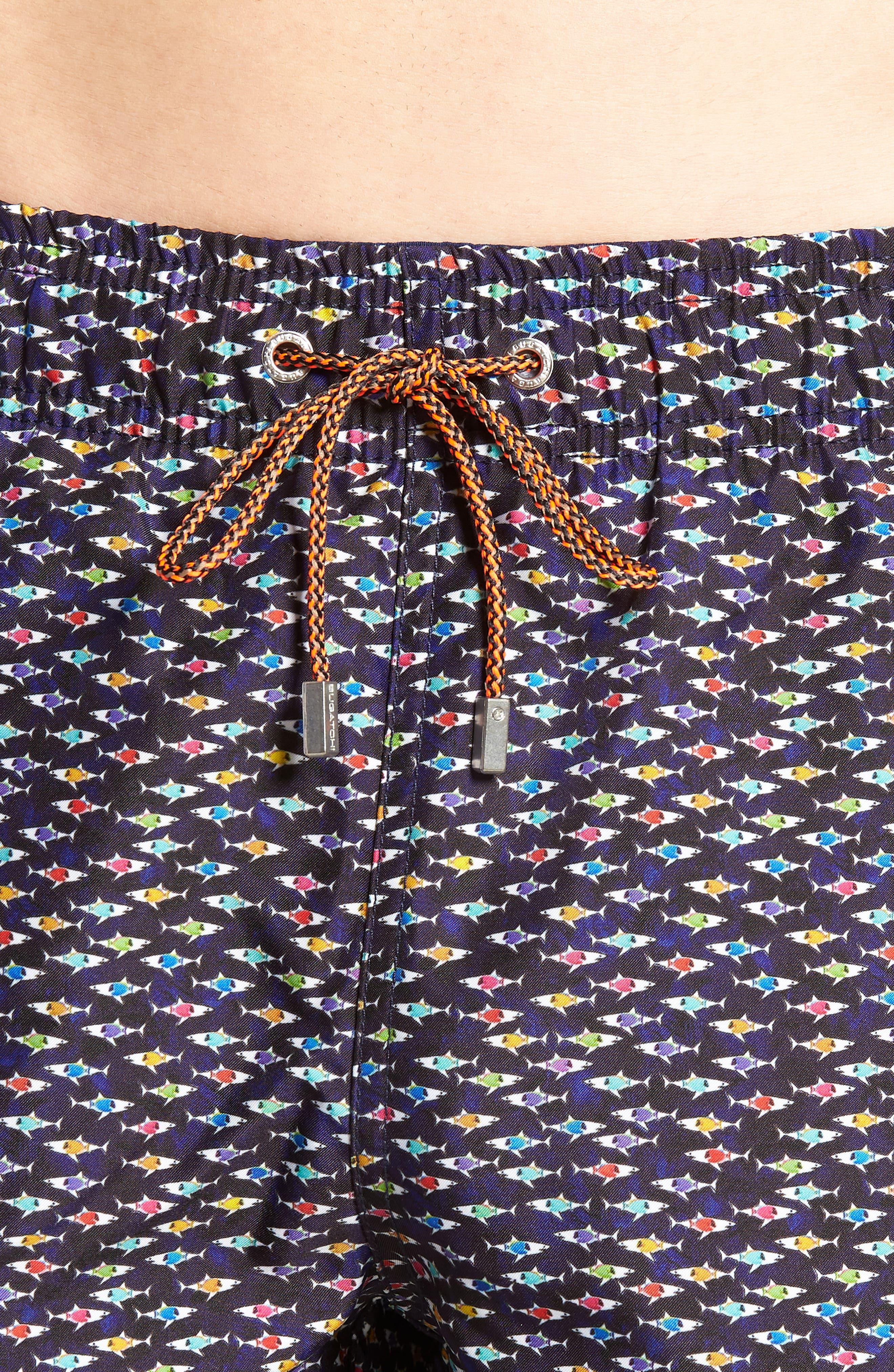 Fish Print Swim Trunks,                             Alternate thumbnail 4, color,