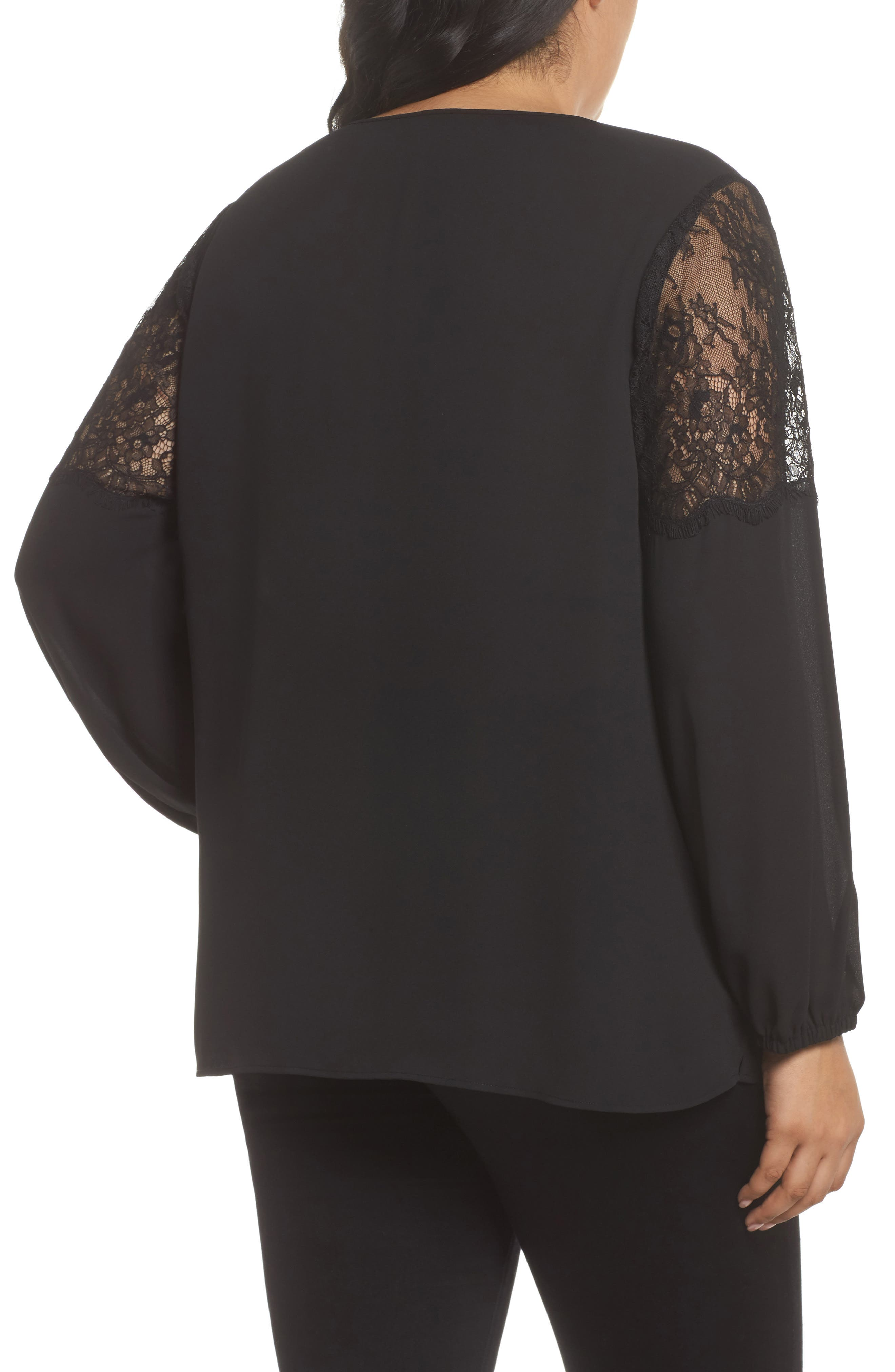 Lace Inset Sleeve Top,                             Alternate thumbnail 2, color,                             001