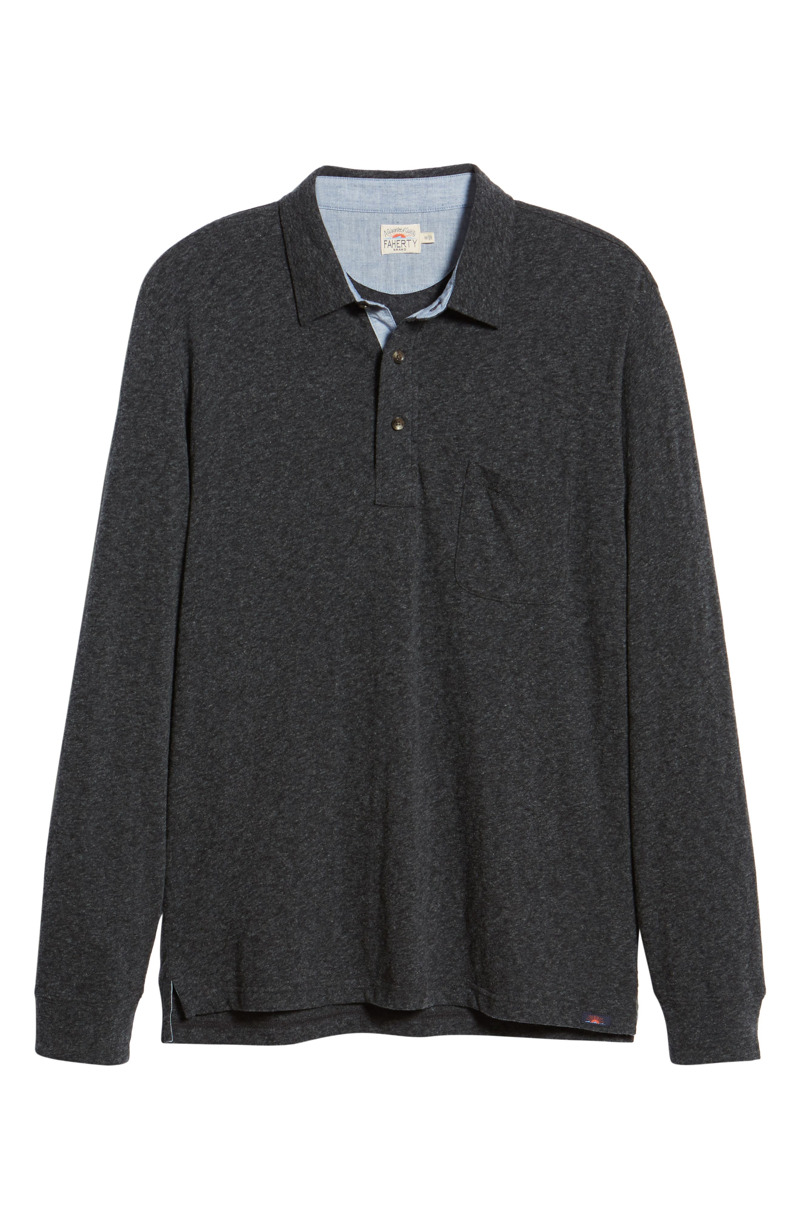 Luxe Heather Long Sleeve Polo,                             Alternate thumbnail 6, color,                             WASHED BLACK