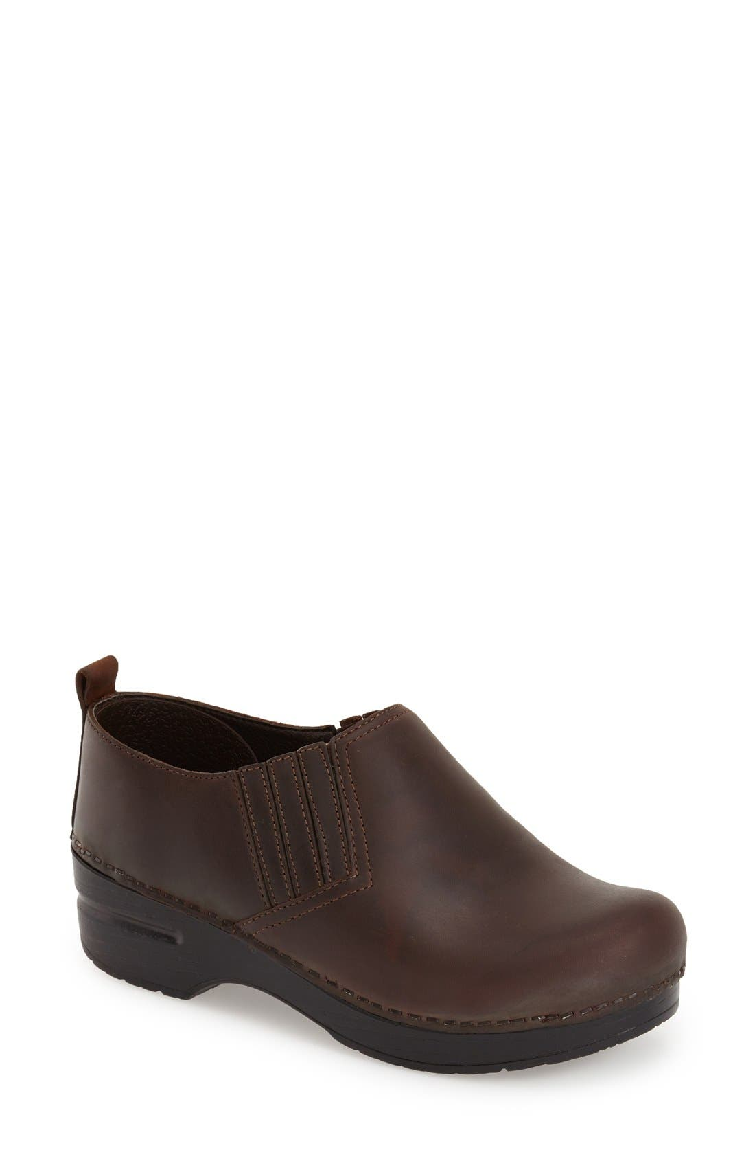 'Piet' Clog,                             Main thumbnail 1, color,                             ANTIQUE BROWN OILED LEATHER
