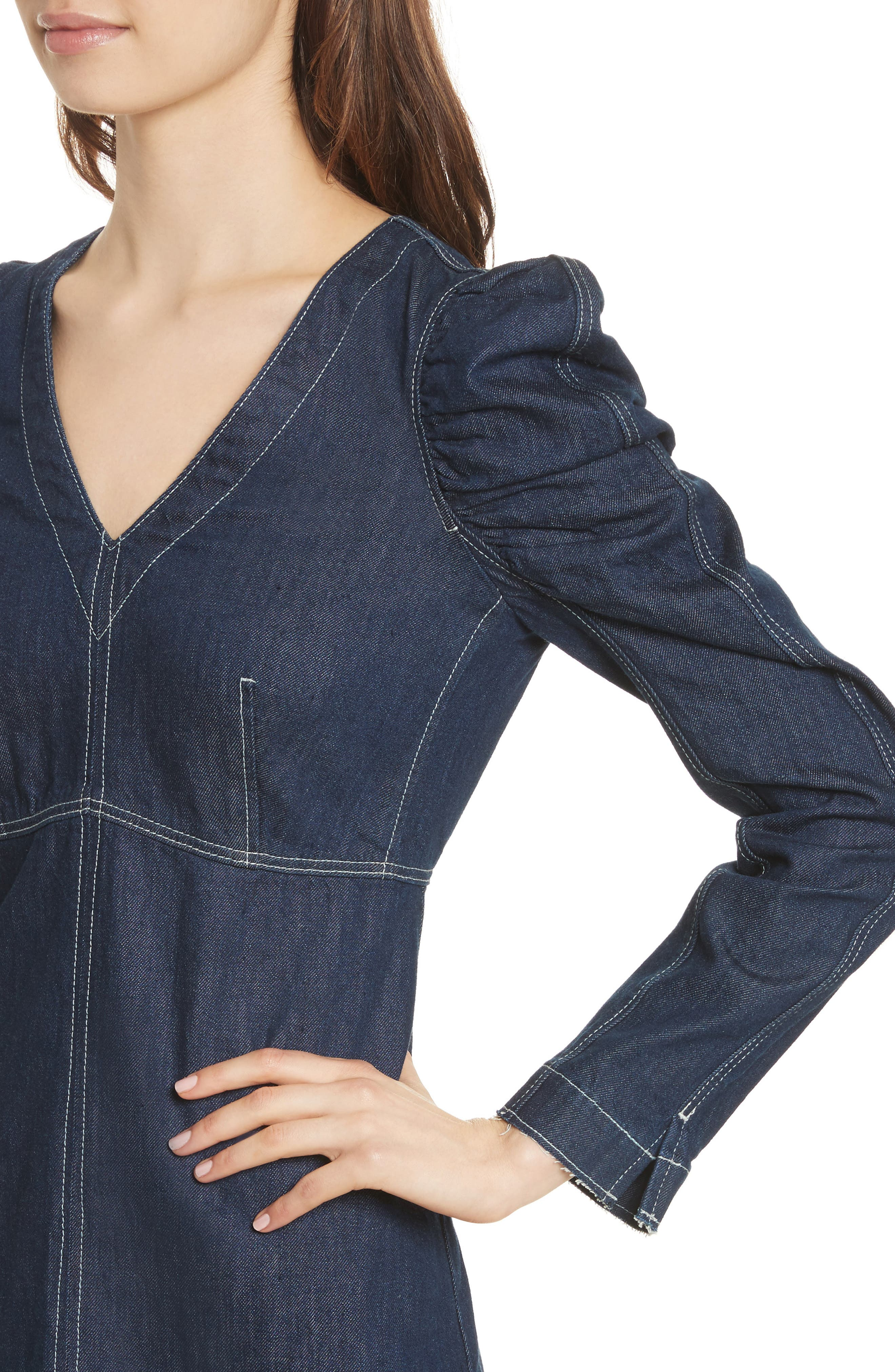 Ruched Sleeve Denim Dress,                             Alternate thumbnail 4, color,