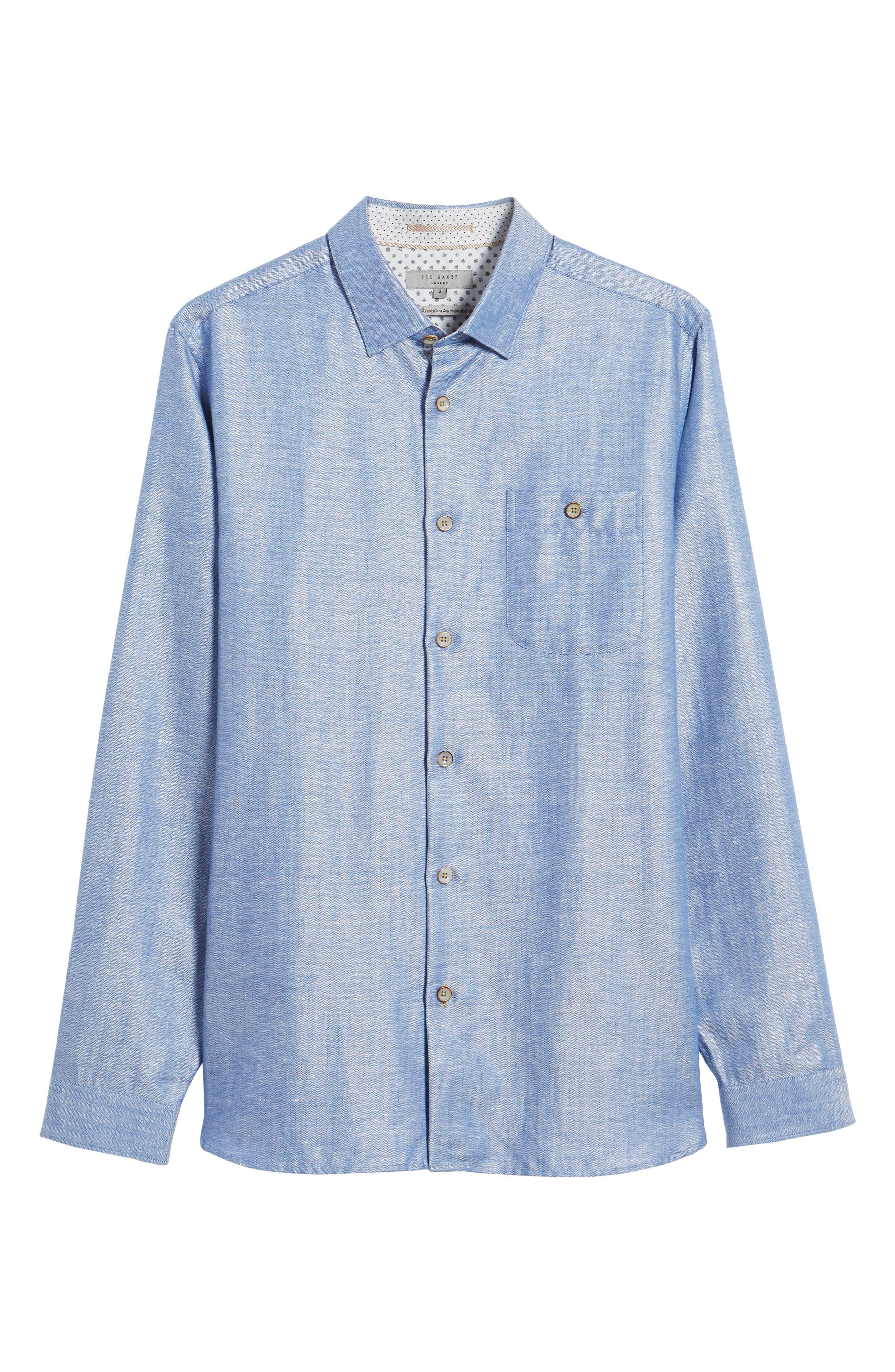 Linlins Herringbone Cotton & Linen Sport Shirt,                             Alternate thumbnail 27, color,