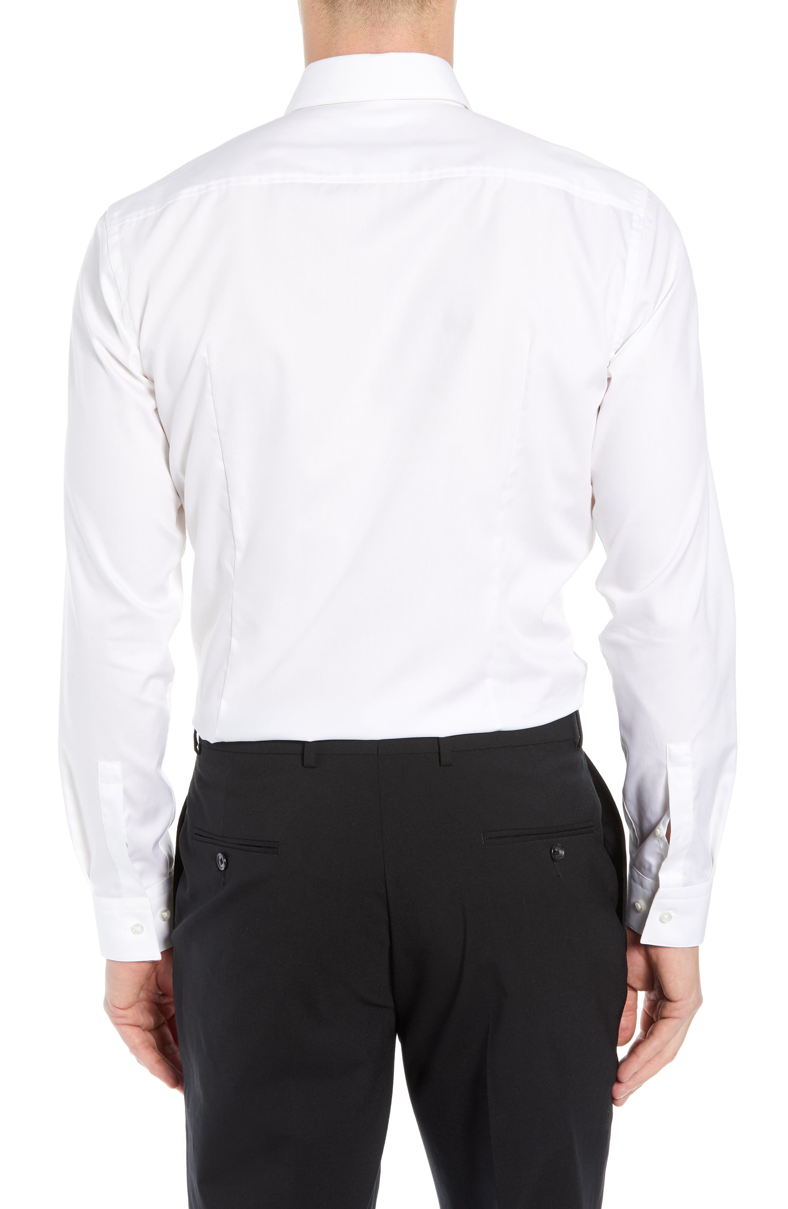 Jamir Slim Fit Easy Iron Solid Dress Shirt,                             Alternate thumbnail 3, color,                             100