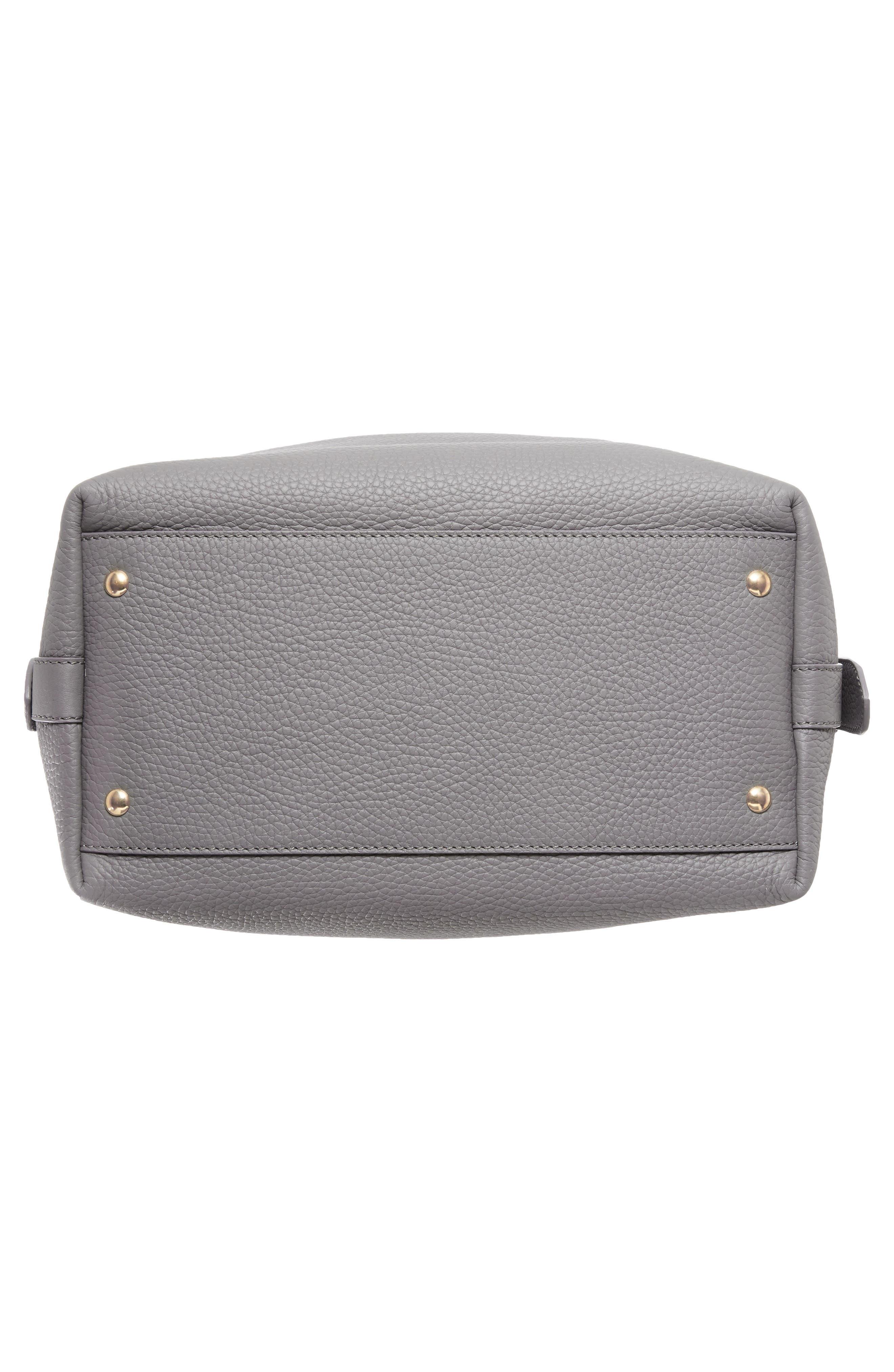 SALVATORE FERRAGAMO,                             Pebbled Leather Drawstring Bucket Bag,                             Alternate thumbnail 6, color,                             020