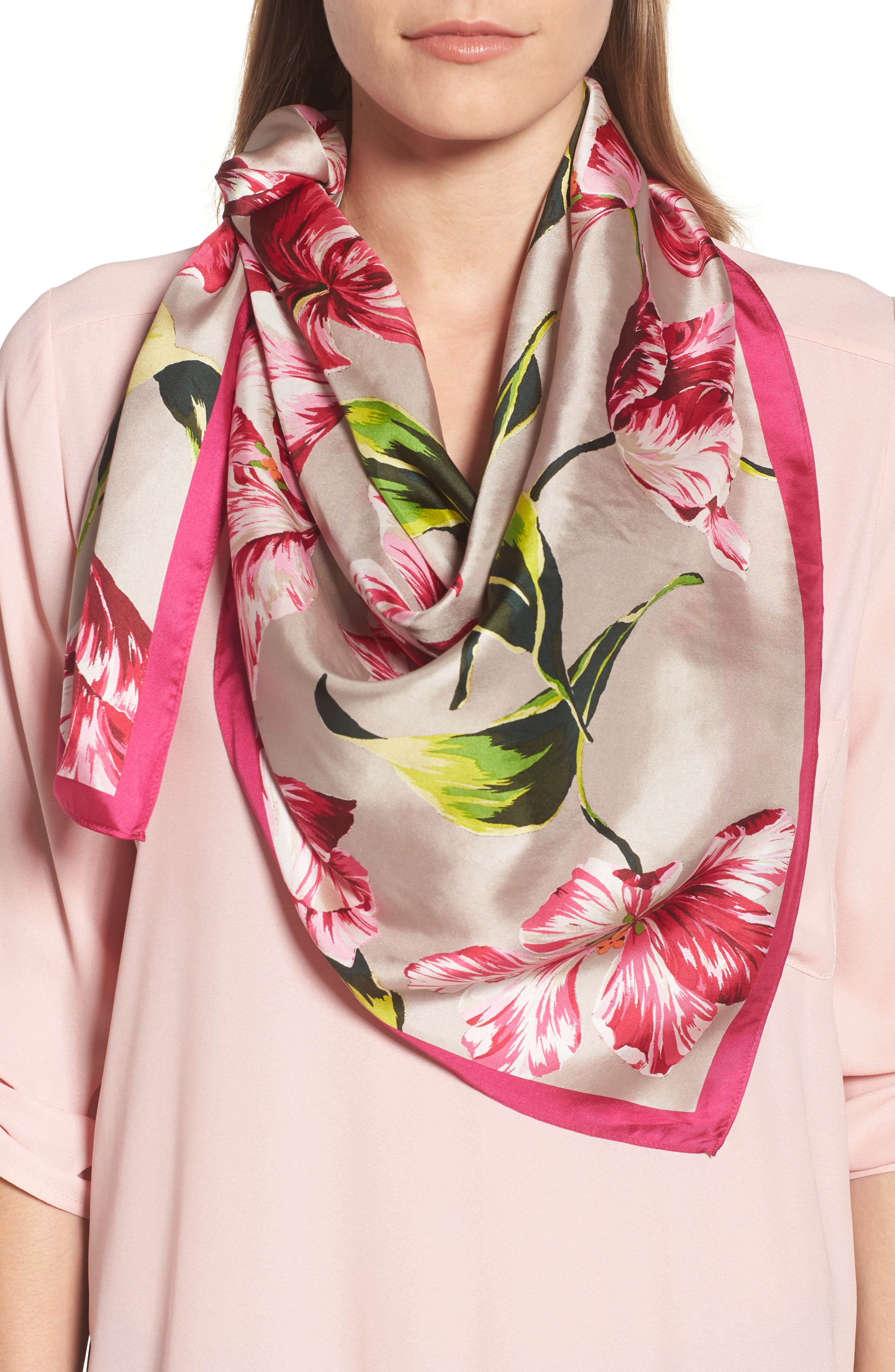 Buckingham Tulips Silk Square Scarf,                             Main thumbnail 1, color,                             263