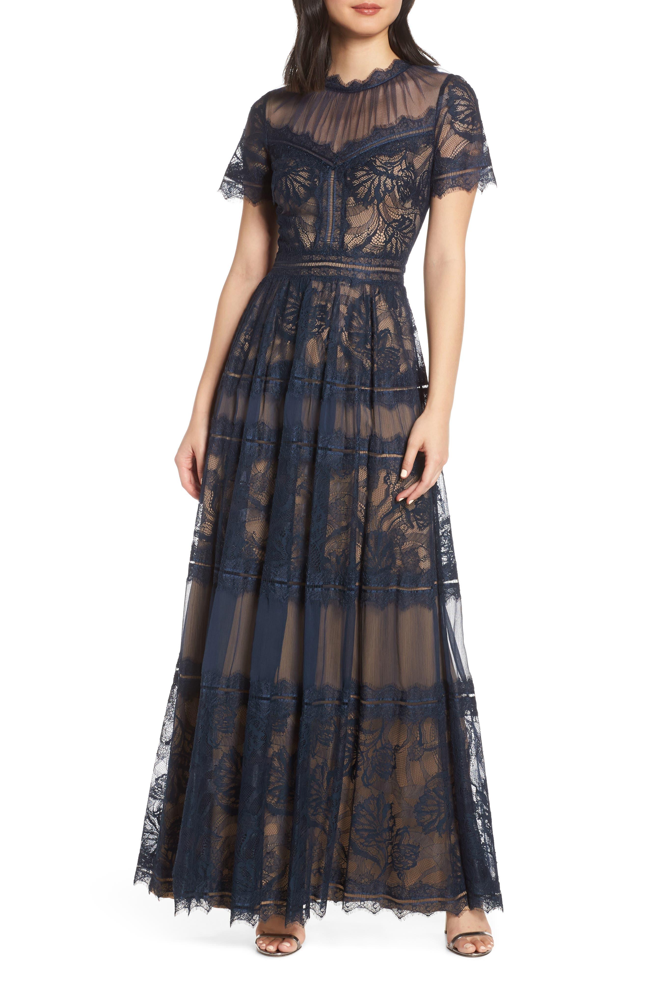 Tadashi Shoji Lace Evening Dress, Blue