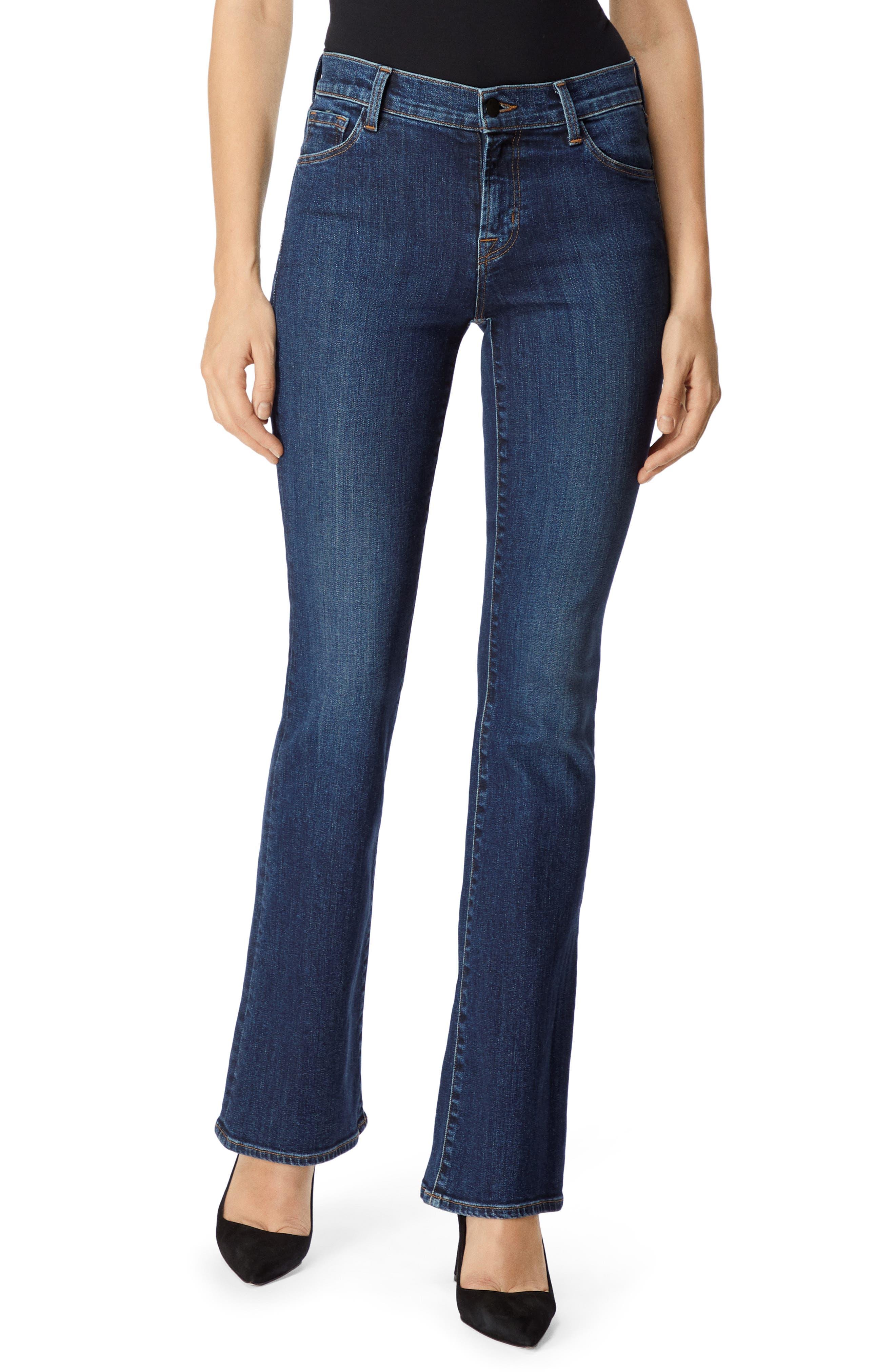 Sallie Mid-Rise Boot-Cut Jeans - Blue Size 26