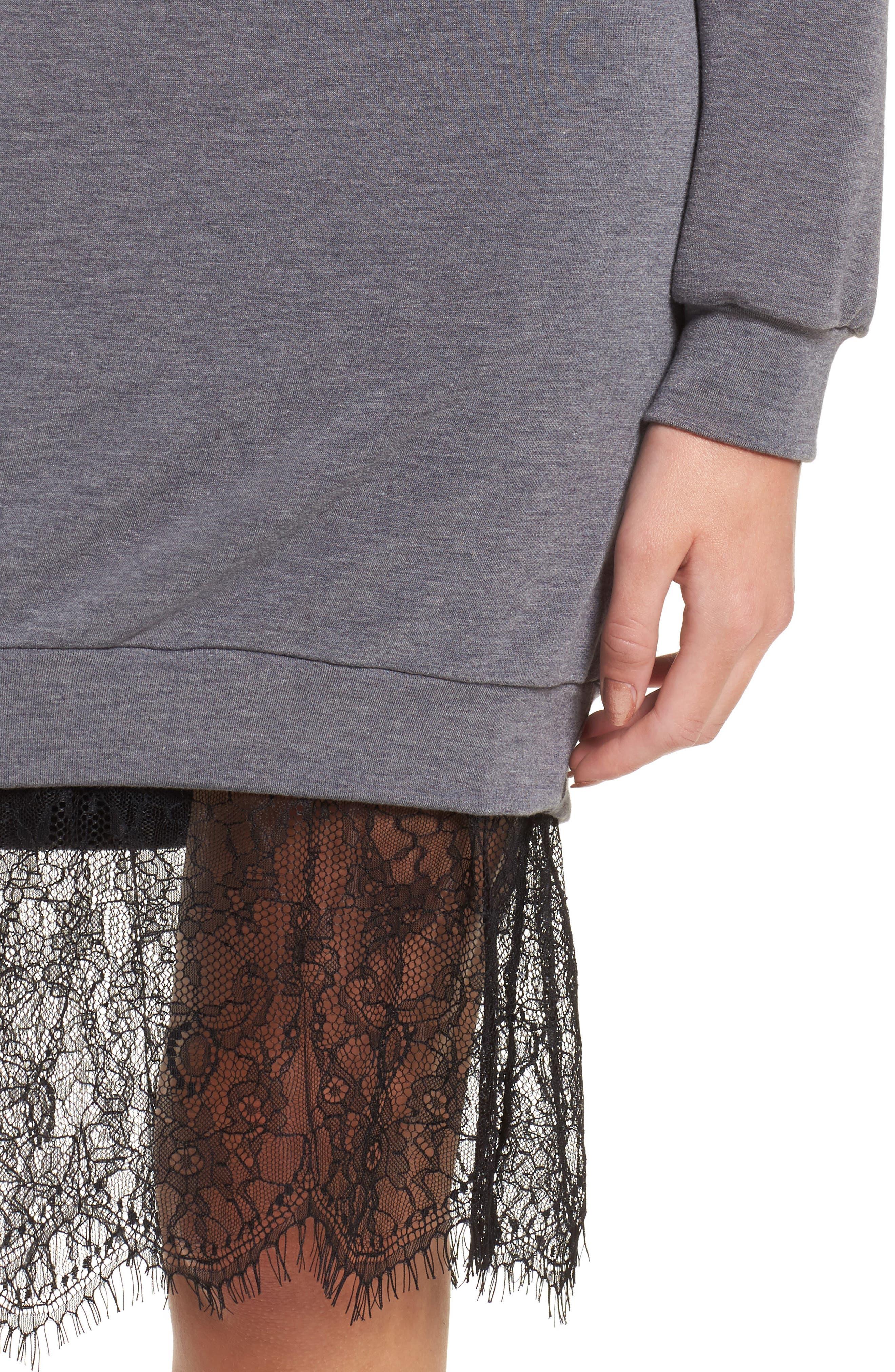 Lace Hem Sweatshirt Dress,                             Alternate thumbnail 4, color,                             002