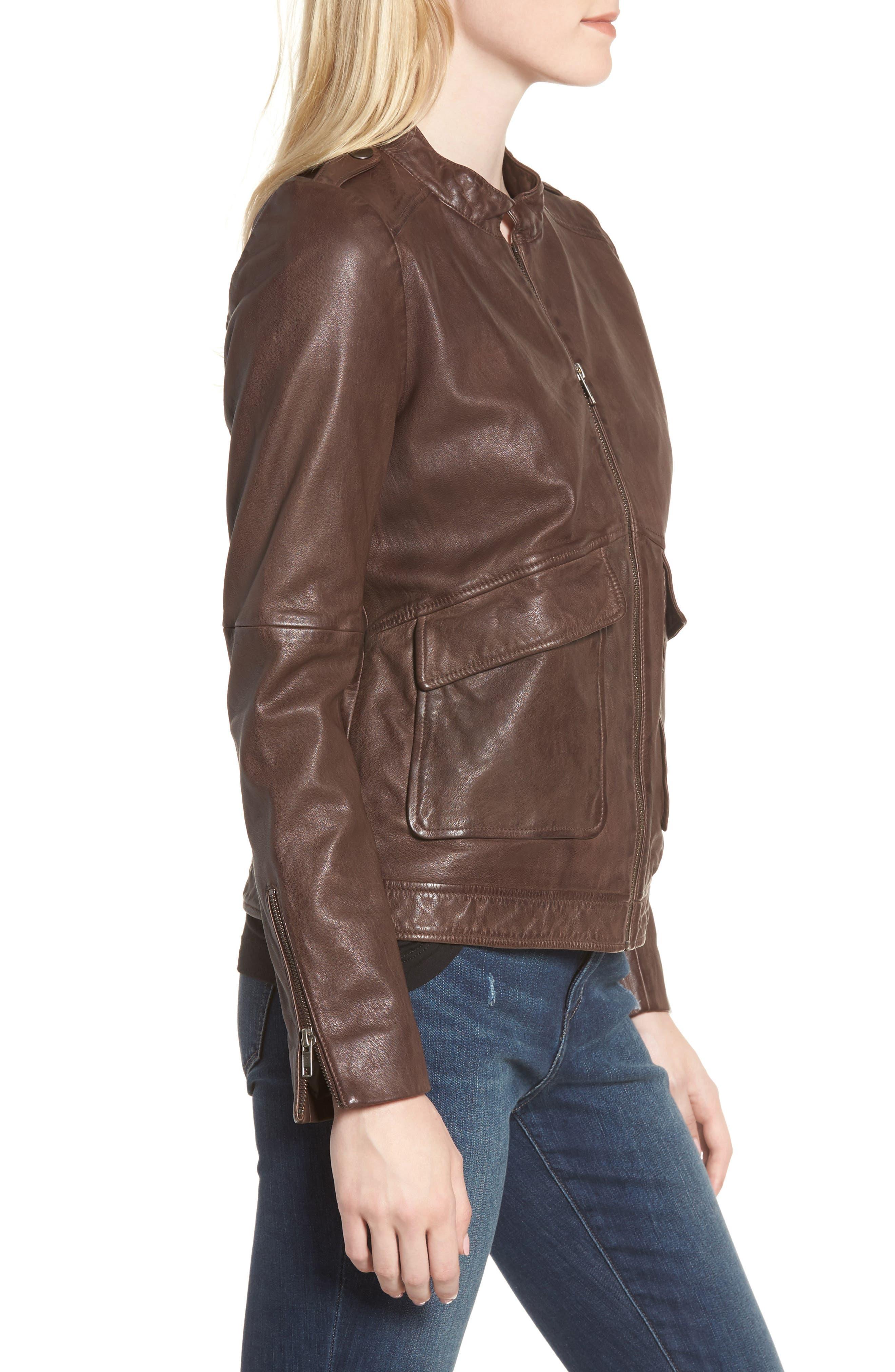 Pocket Detail Leather Jacket,                             Alternate thumbnail 3, color,