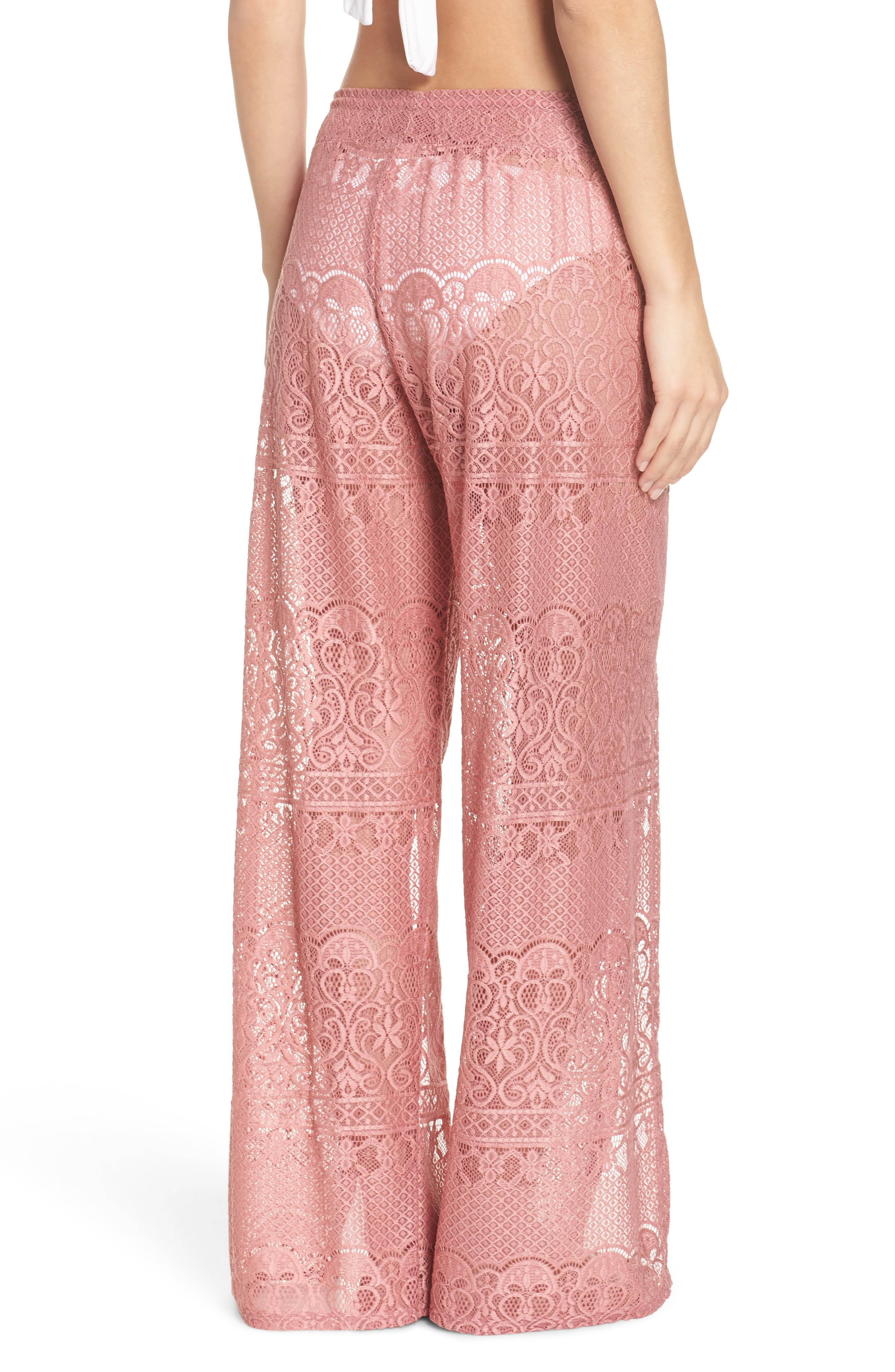 About Lace Cover-Up Pants,                             Alternate thumbnail 2, color,                             DUSTY ROSE
