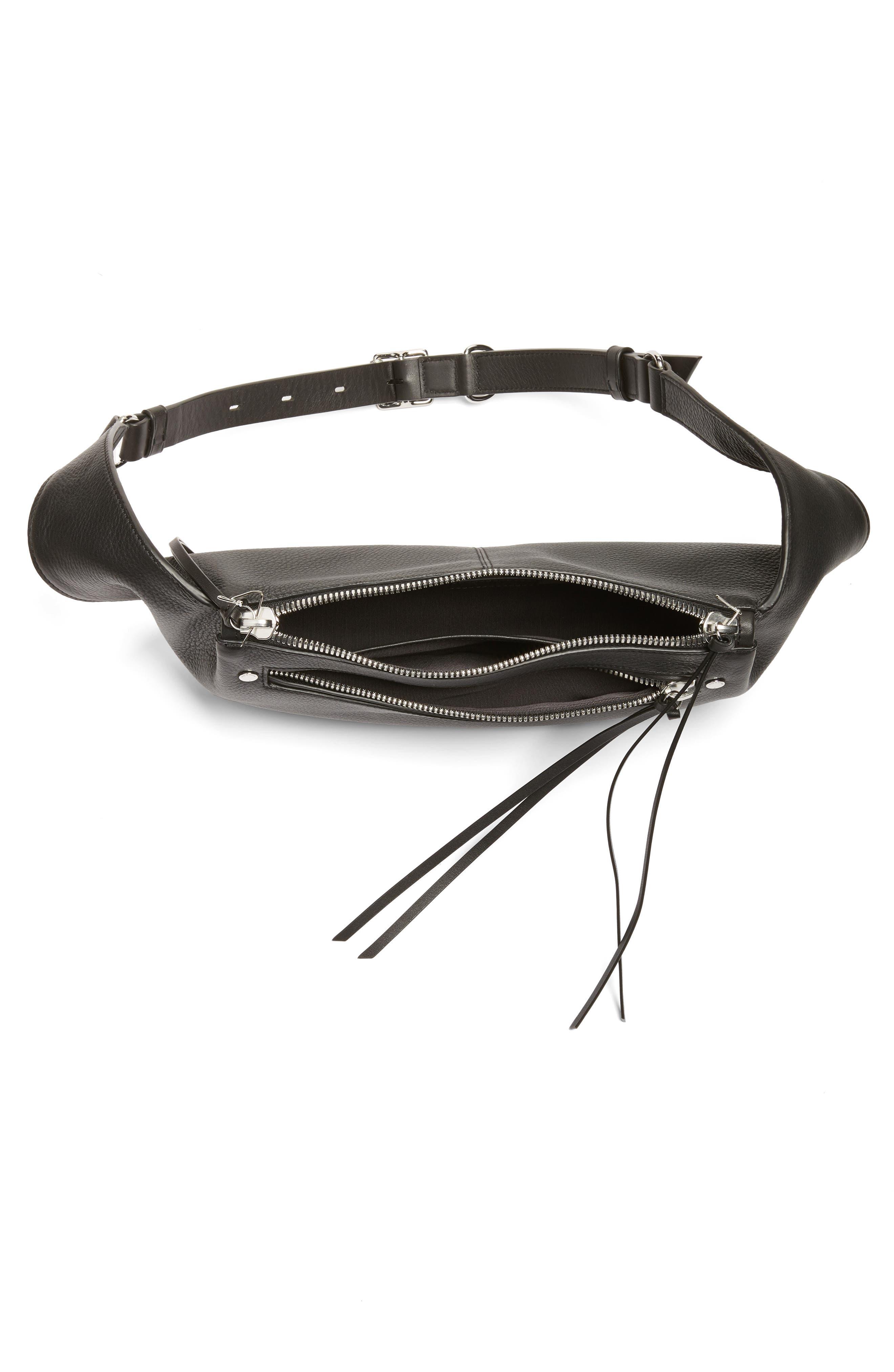 Leather Belt Bag,                             Alternate thumbnail 4, color,                             BLACK
