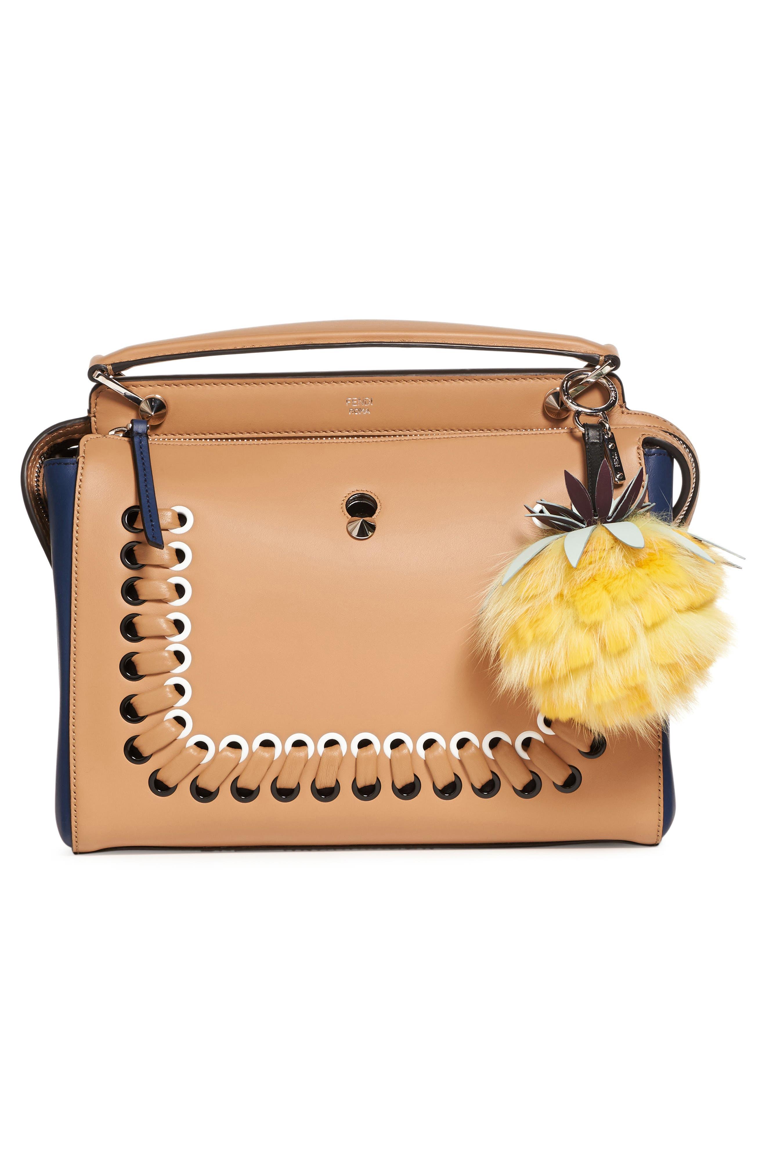 Pineapple Genuine Fox & Rabbit Fur Bag Charm,                             Alternate thumbnail 4, color,