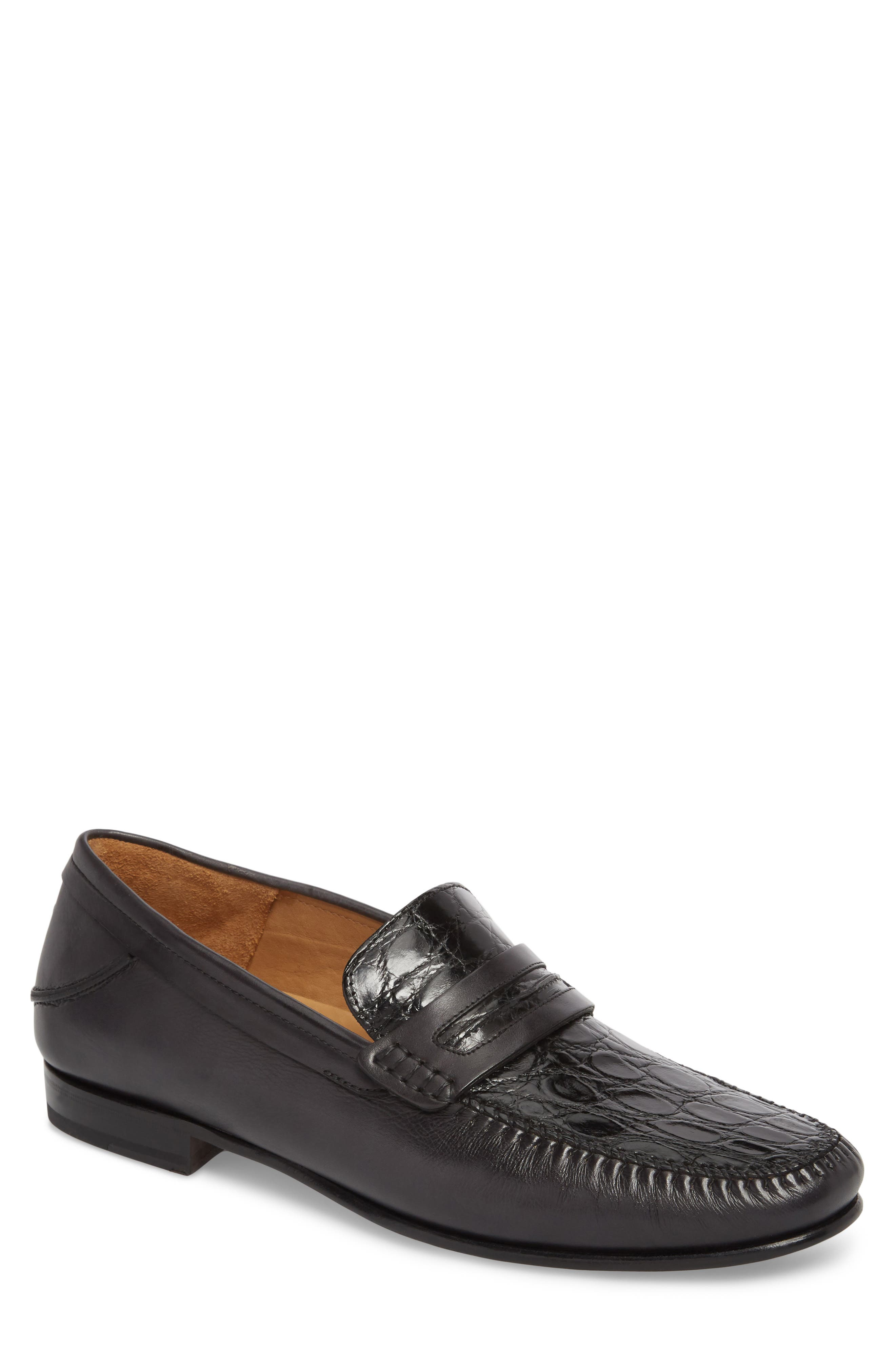Kronos Moc Toe Penny Loafer,                         Main,                         color, BLACK LEATHER