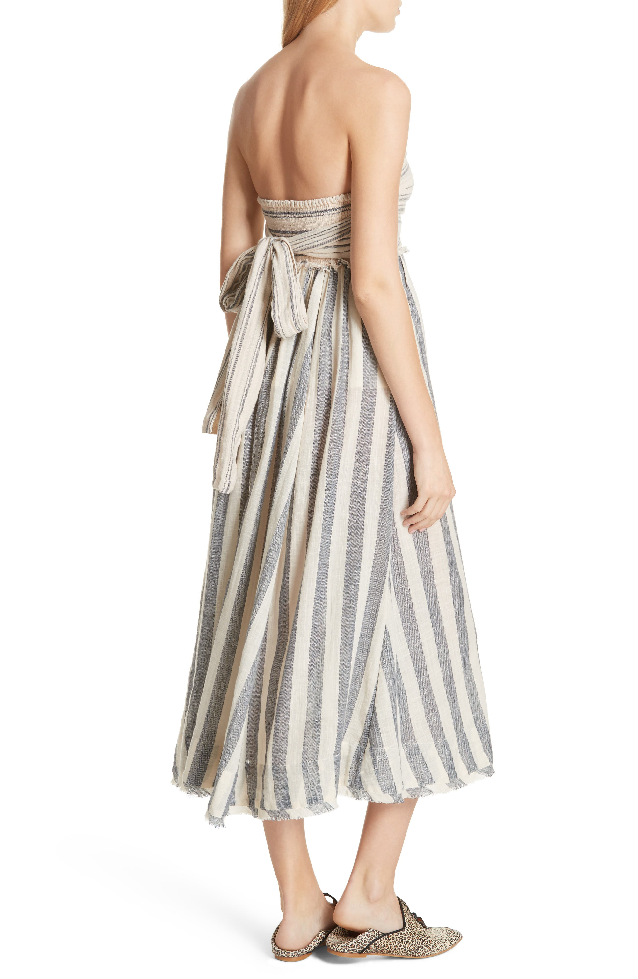 Stripe Me Up Strapless Midi Dress,                             Alternate thumbnail 3, color,