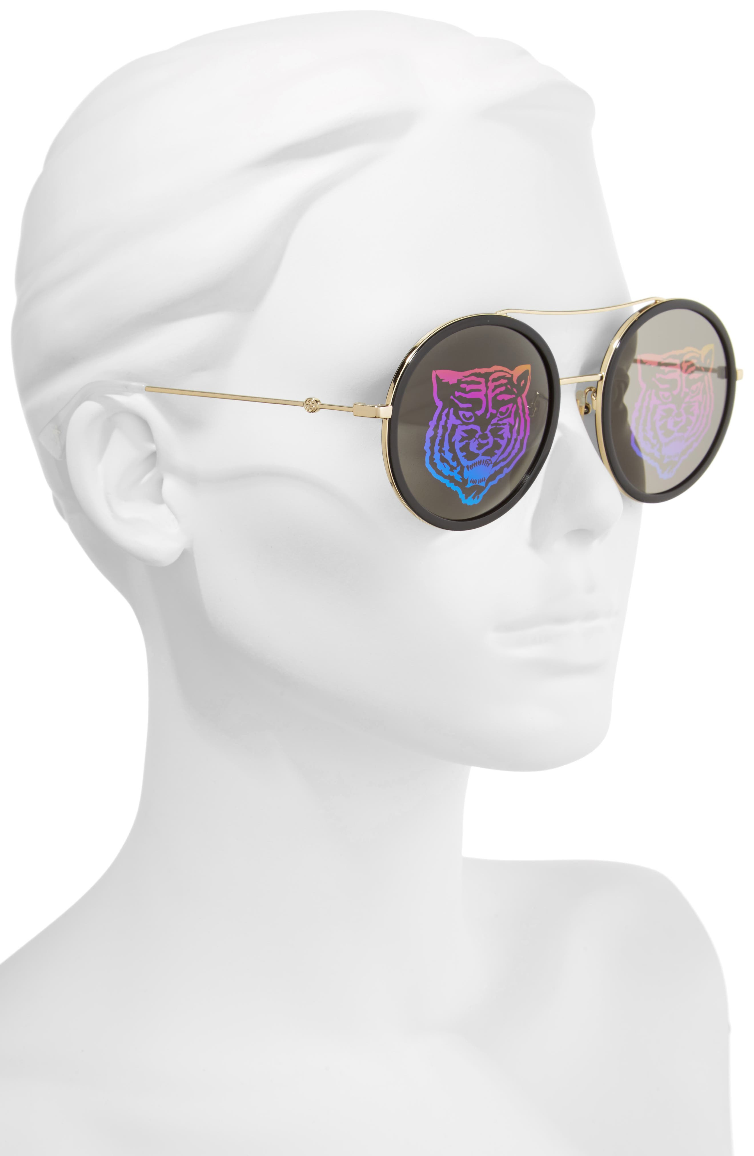 56mm Round Mirrored Aviator Sunglasses,                             Alternate thumbnail 2, color,                             GOLD/ TIGER