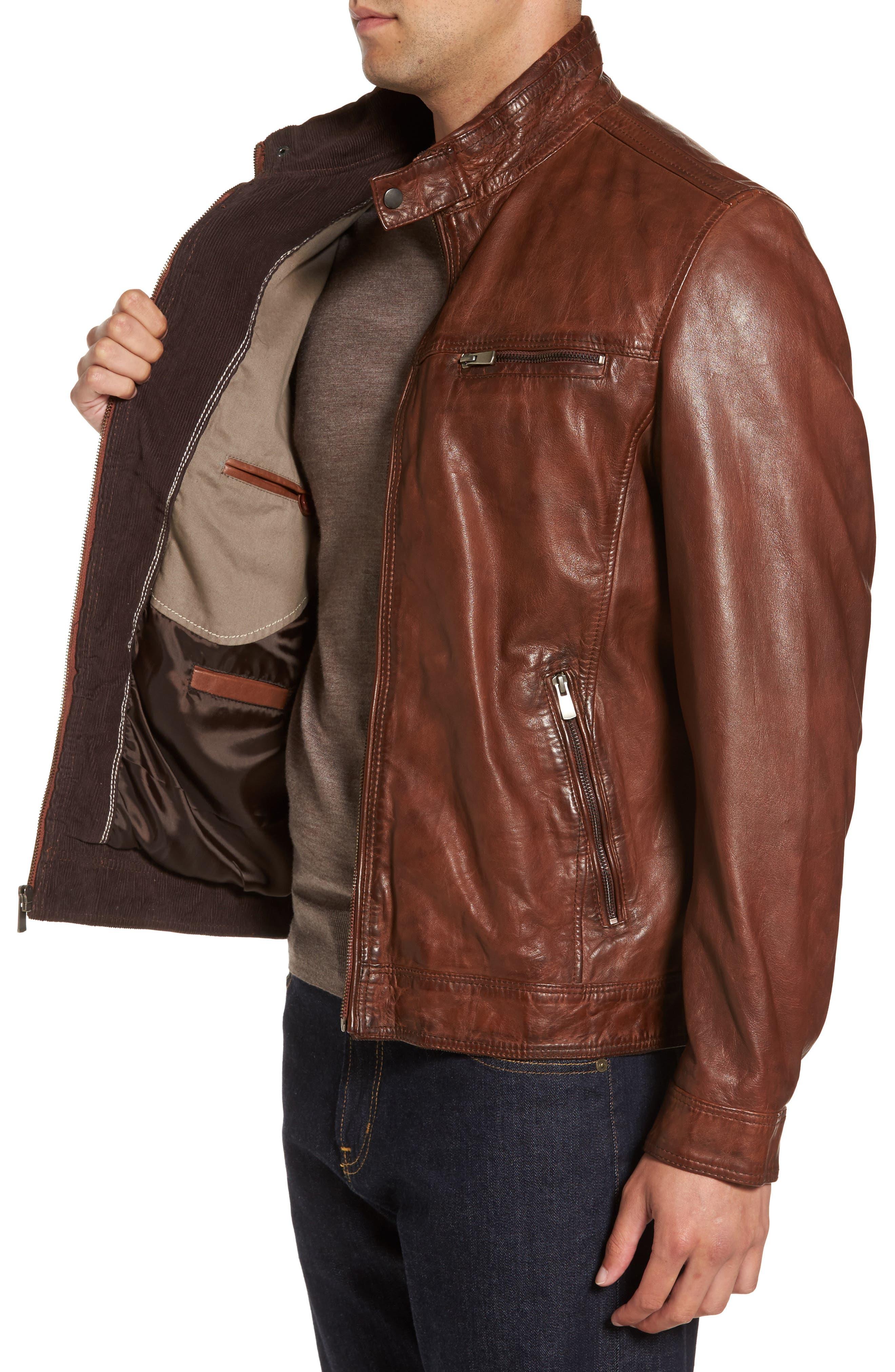 Leather Jacket,                             Alternate thumbnail 3, color,                             210