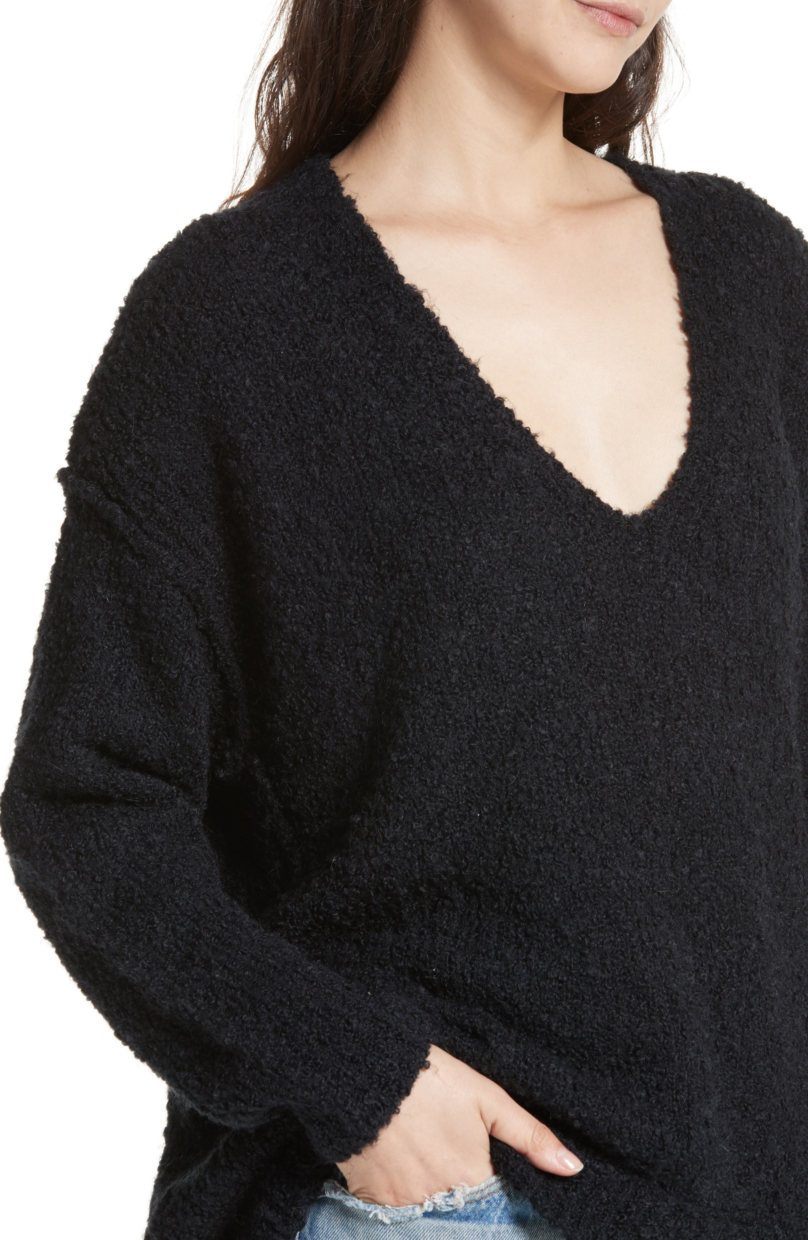 Lofty V-Neck Sweater,                             Alternate thumbnail 4, color,                             001