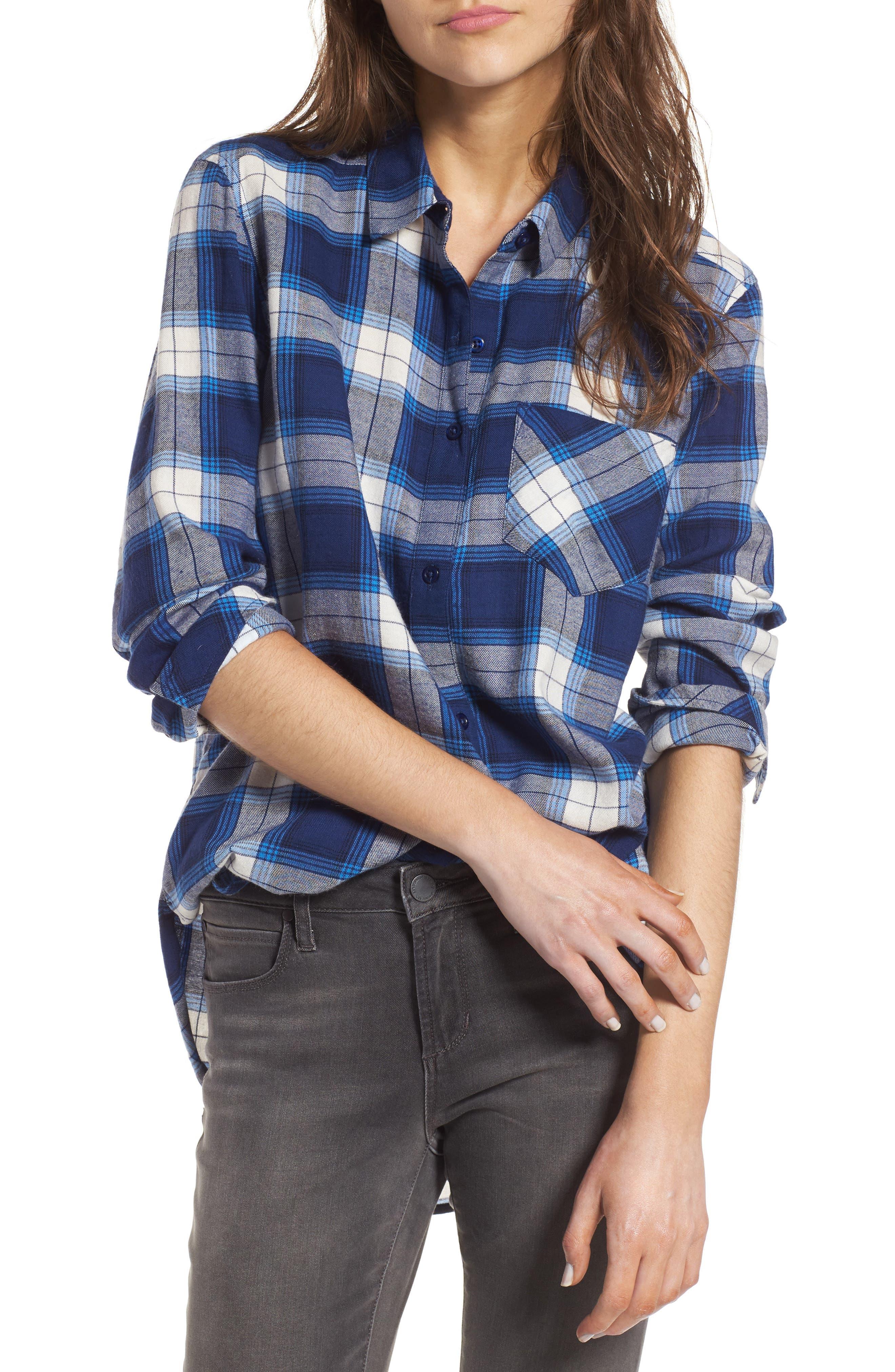 Plaid Cotton Blend Shirt,                             Main thumbnail 2, color,