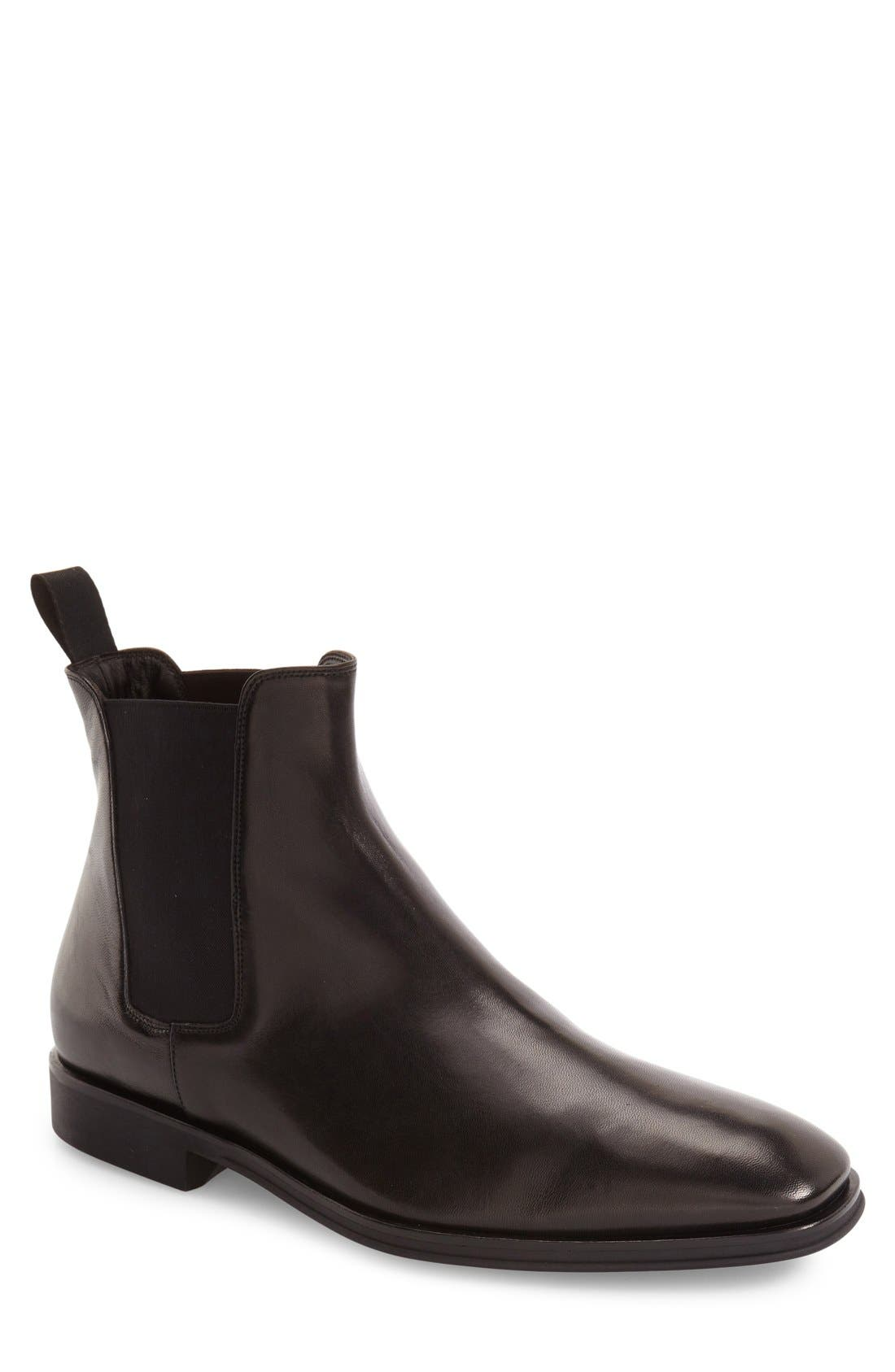 Enrico Chelsea Boot,                         Main,                         color, BLACK LEATHER