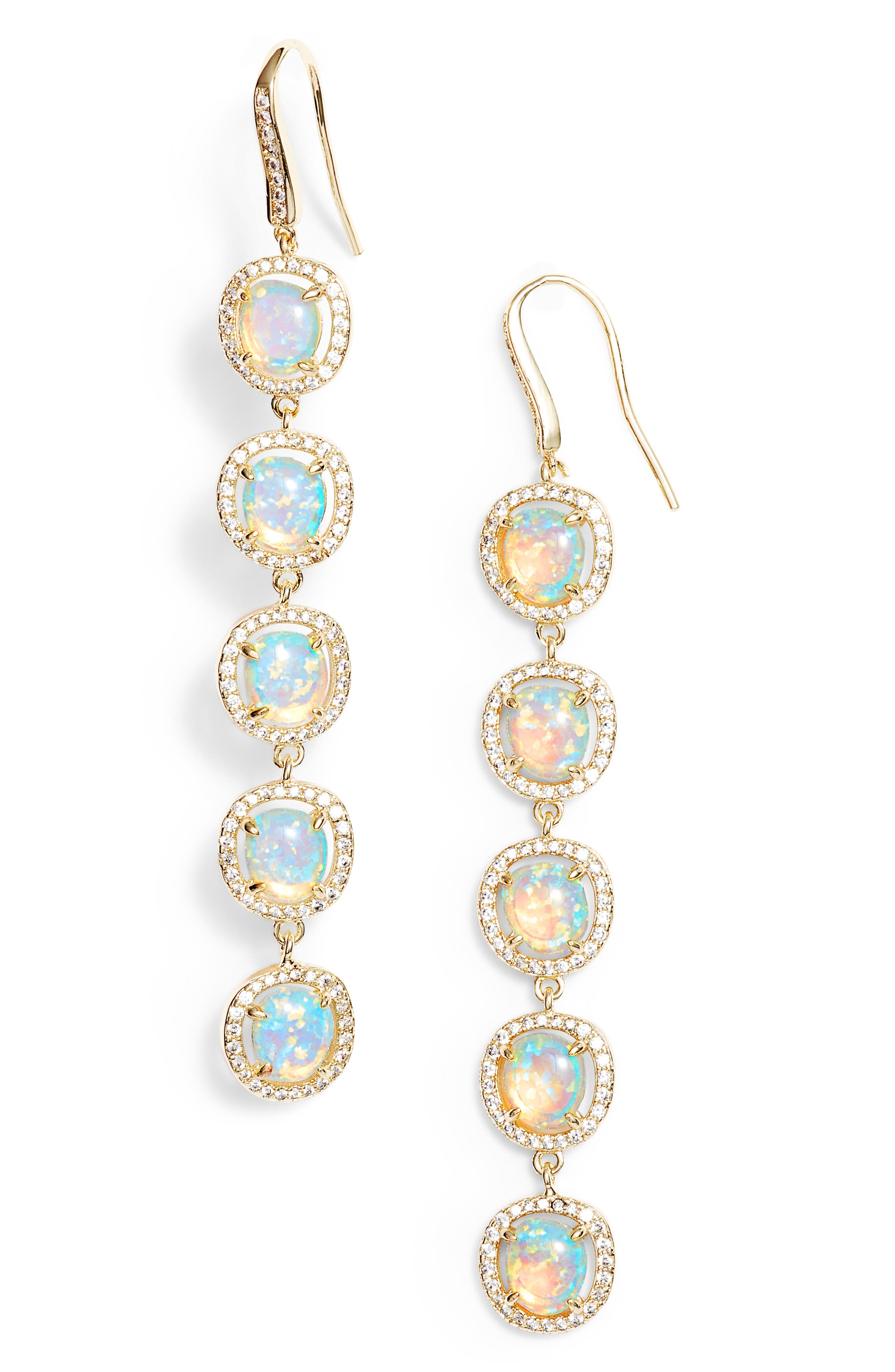 Meredith Opal & Crystal Drop Earrings,                         Main,                         color, 400