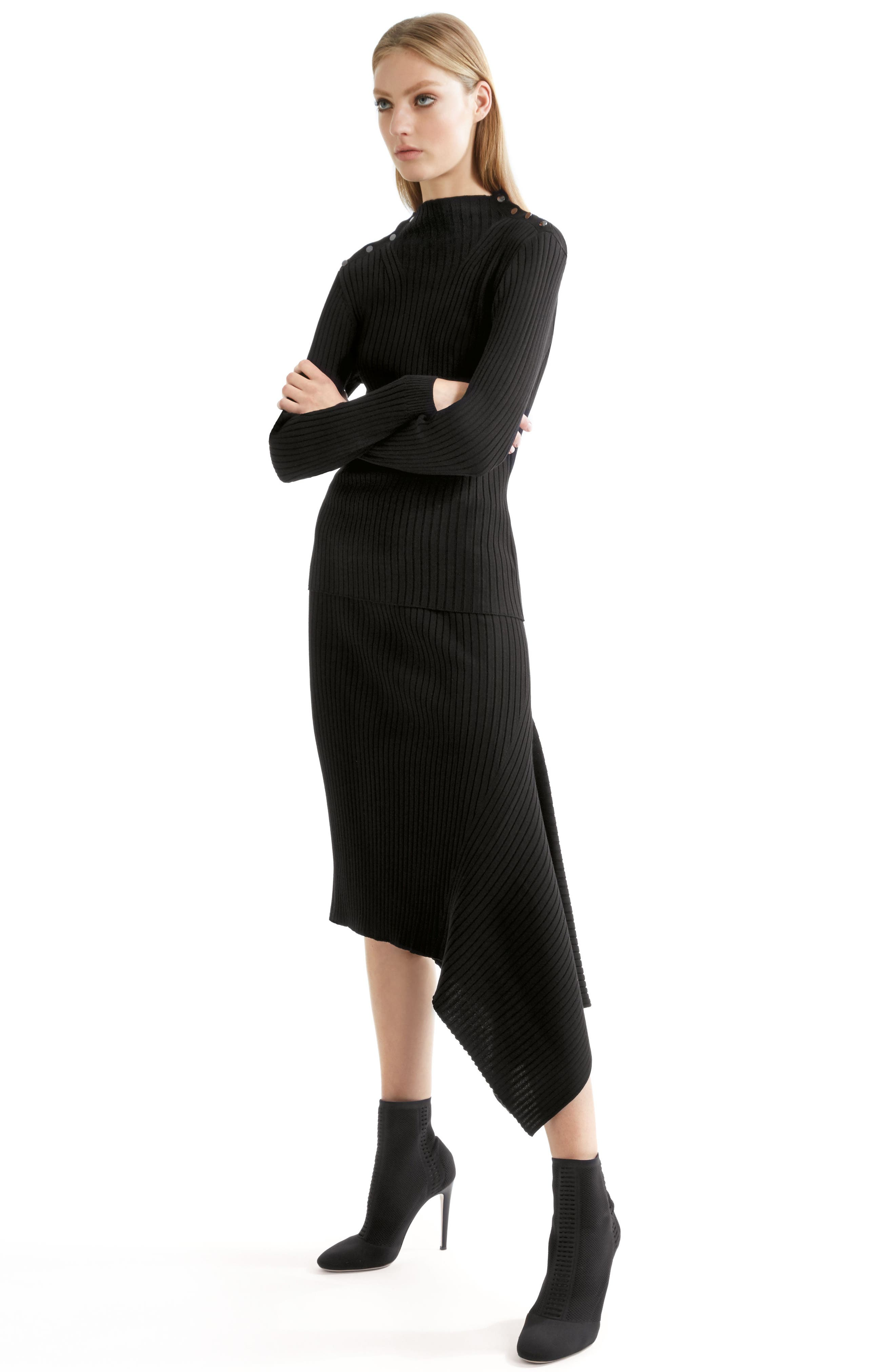 Flat Rib Knit Asymmetrical Skirt,                             Alternate thumbnail 8, color,                             CAVIAR
