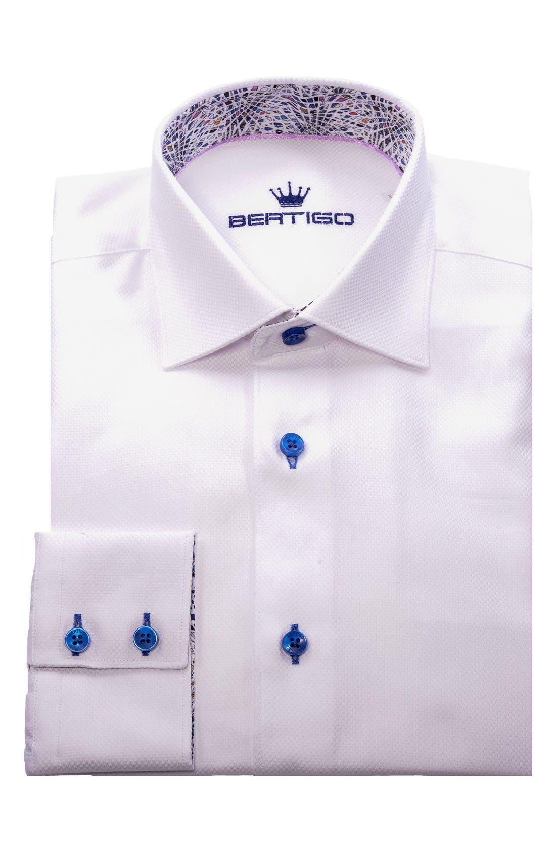 White Arrow Dobby Modern Fit Sport Shirt,                             Alternate thumbnail 4, color,                             110