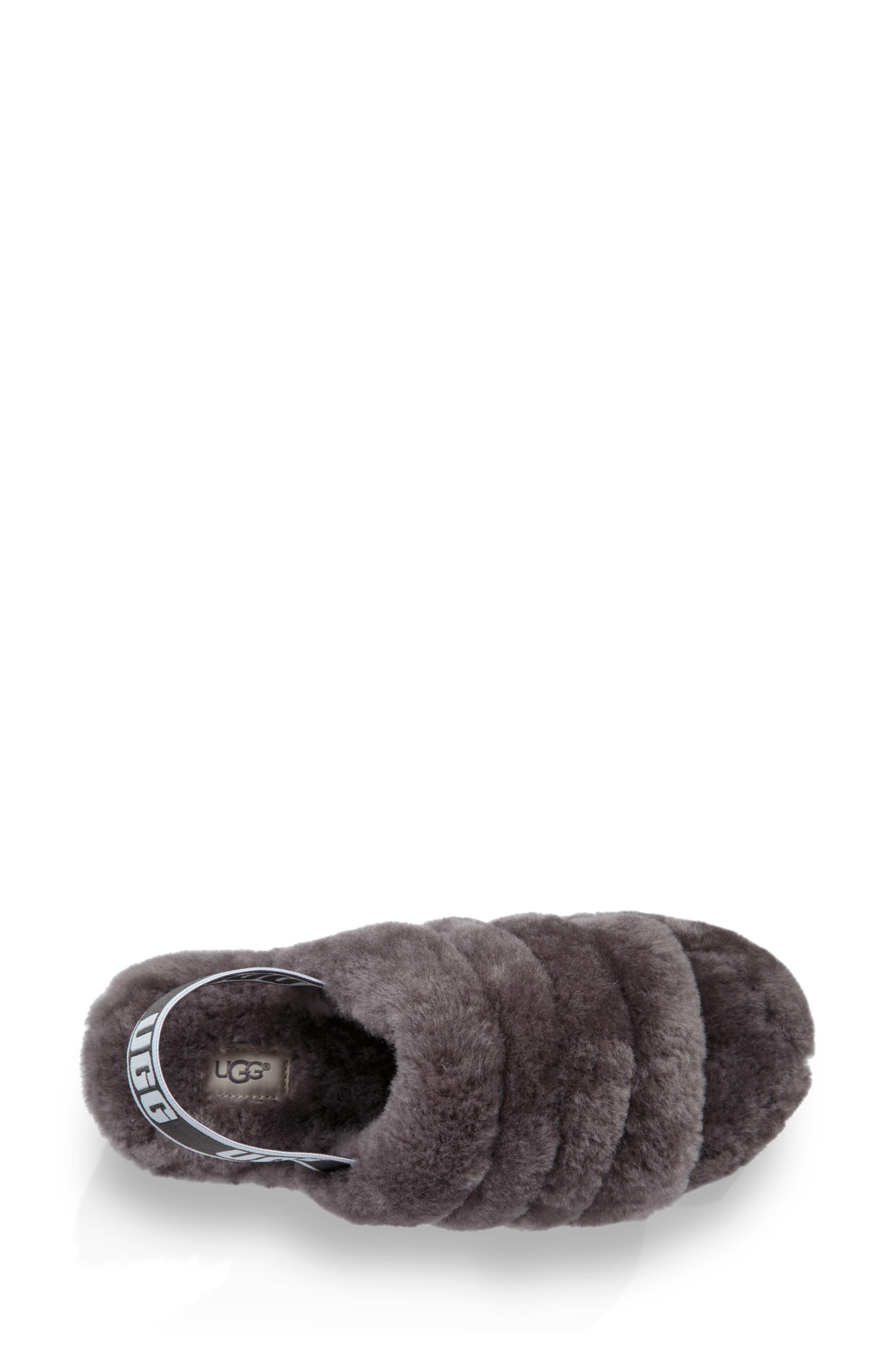 Fluff Yeah Genuine Shearling Slipper,                             Alternate thumbnail 4, color,                             CHARCOAL