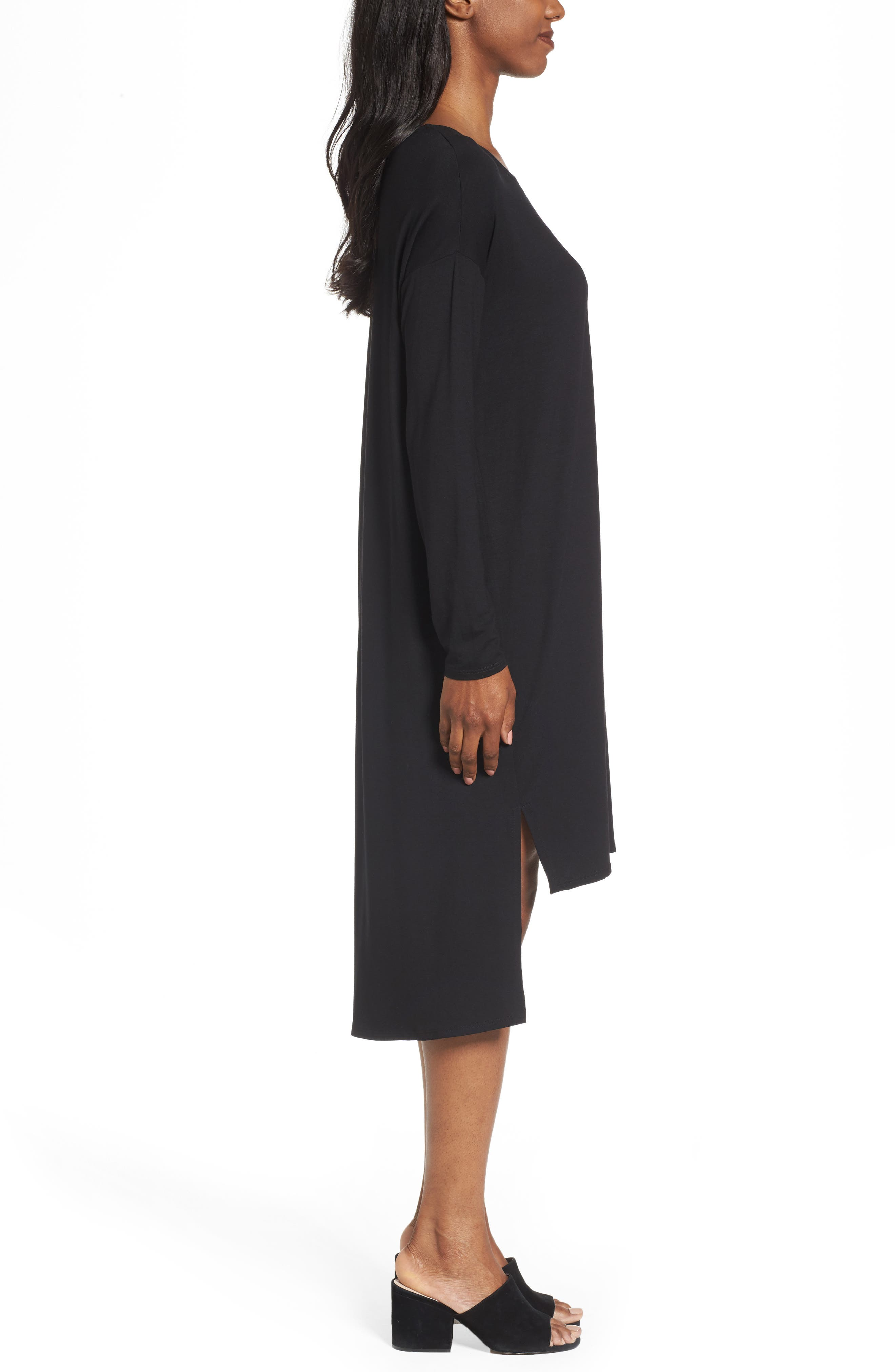High/Low Jersey Shift Dress,                             Alternate thumbnail 3, color,                             001