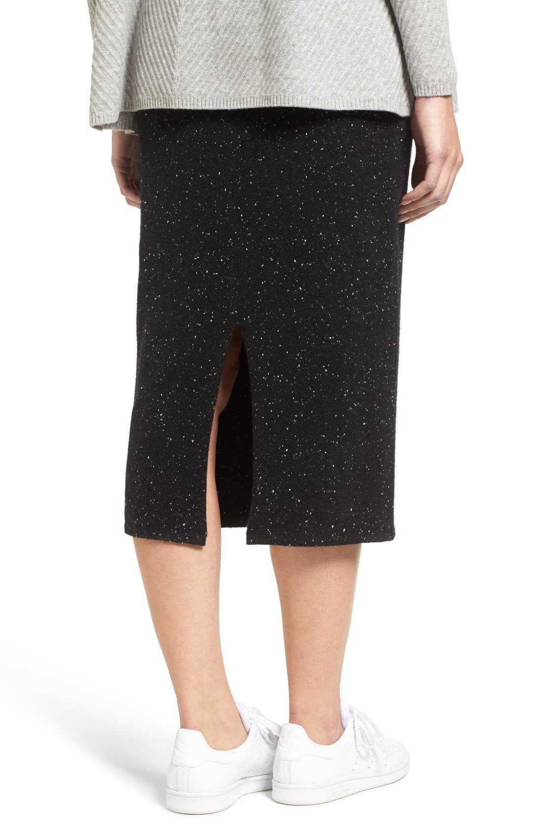 Cashmere Blend Knit Skirt,                             Alternate thumbnail 5, color,                             001