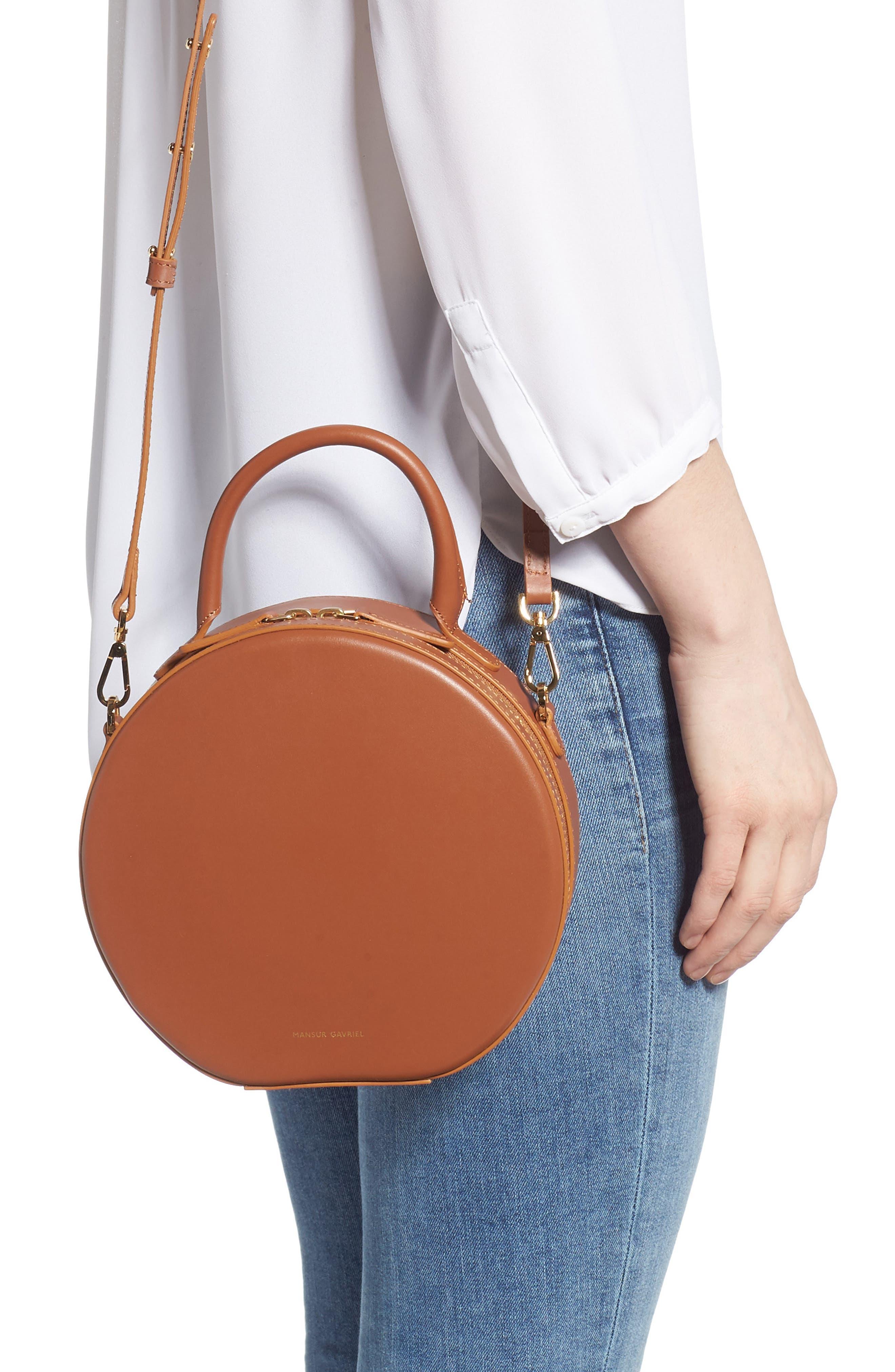 Leather Circle Crossbody Bag,                             Alternate thumbnail 2, color,                             SADDLE