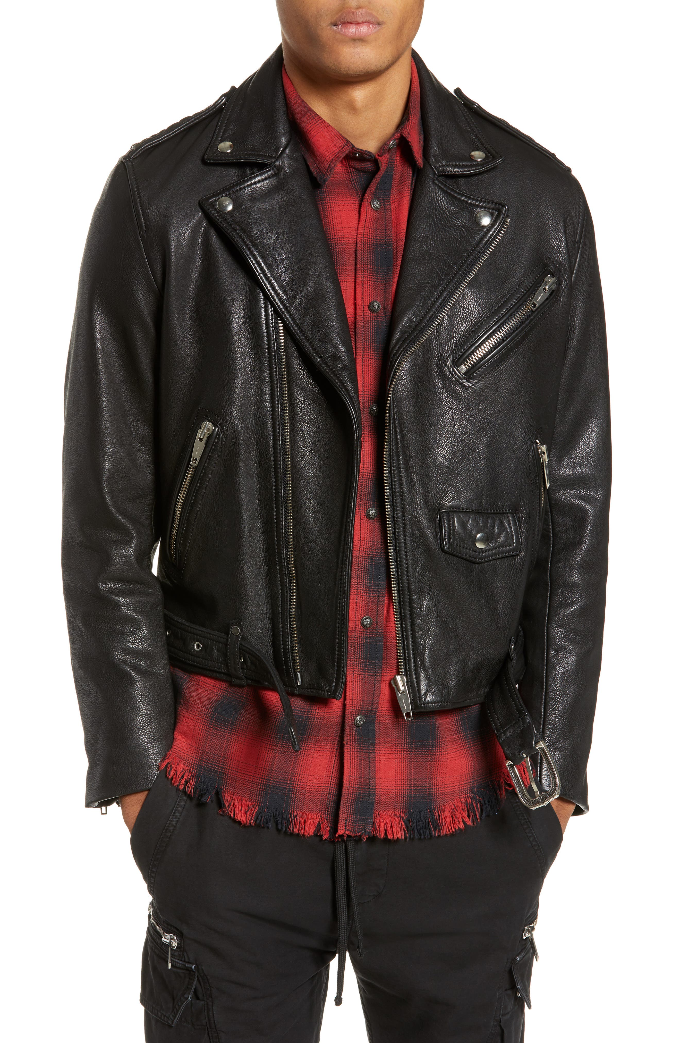 Leather Biker Jacket,                             Main thumbnail 1, color,                             BLACK