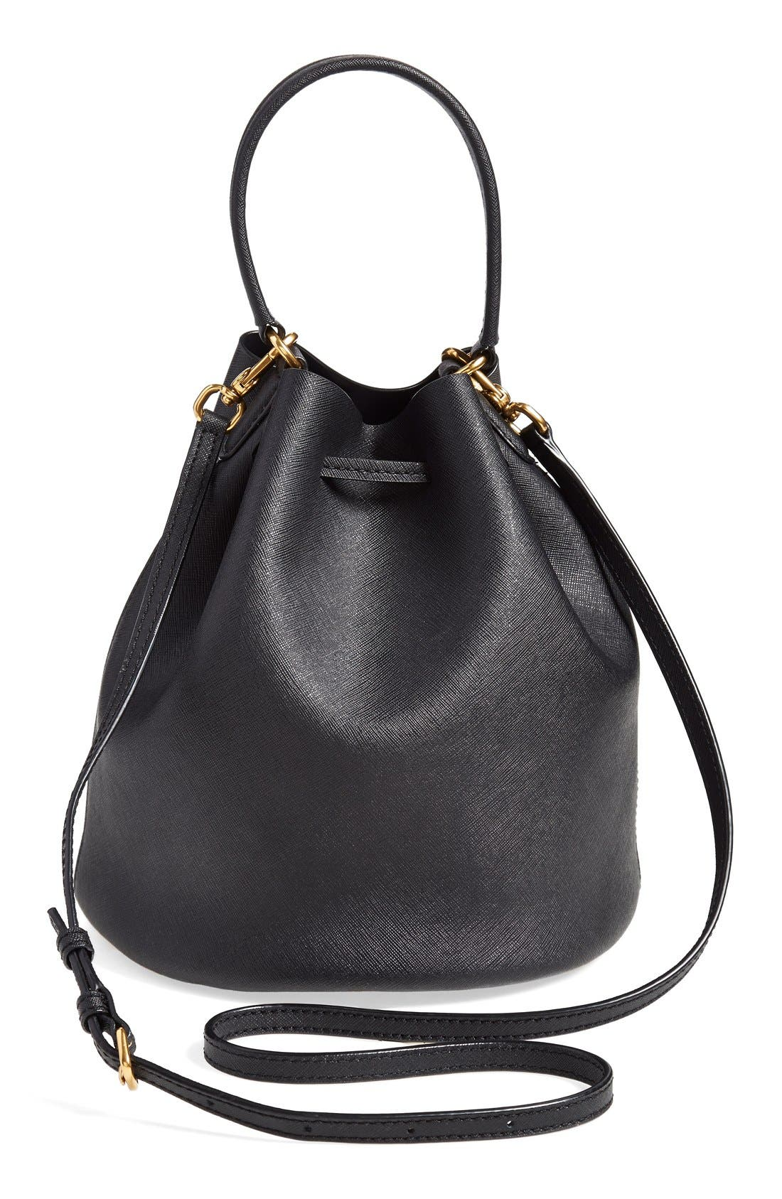 MARC BY MARC JACOBS 'Metropoli' Leather Bucket Bag,                             Alternate thumbnail 4, color,                             001