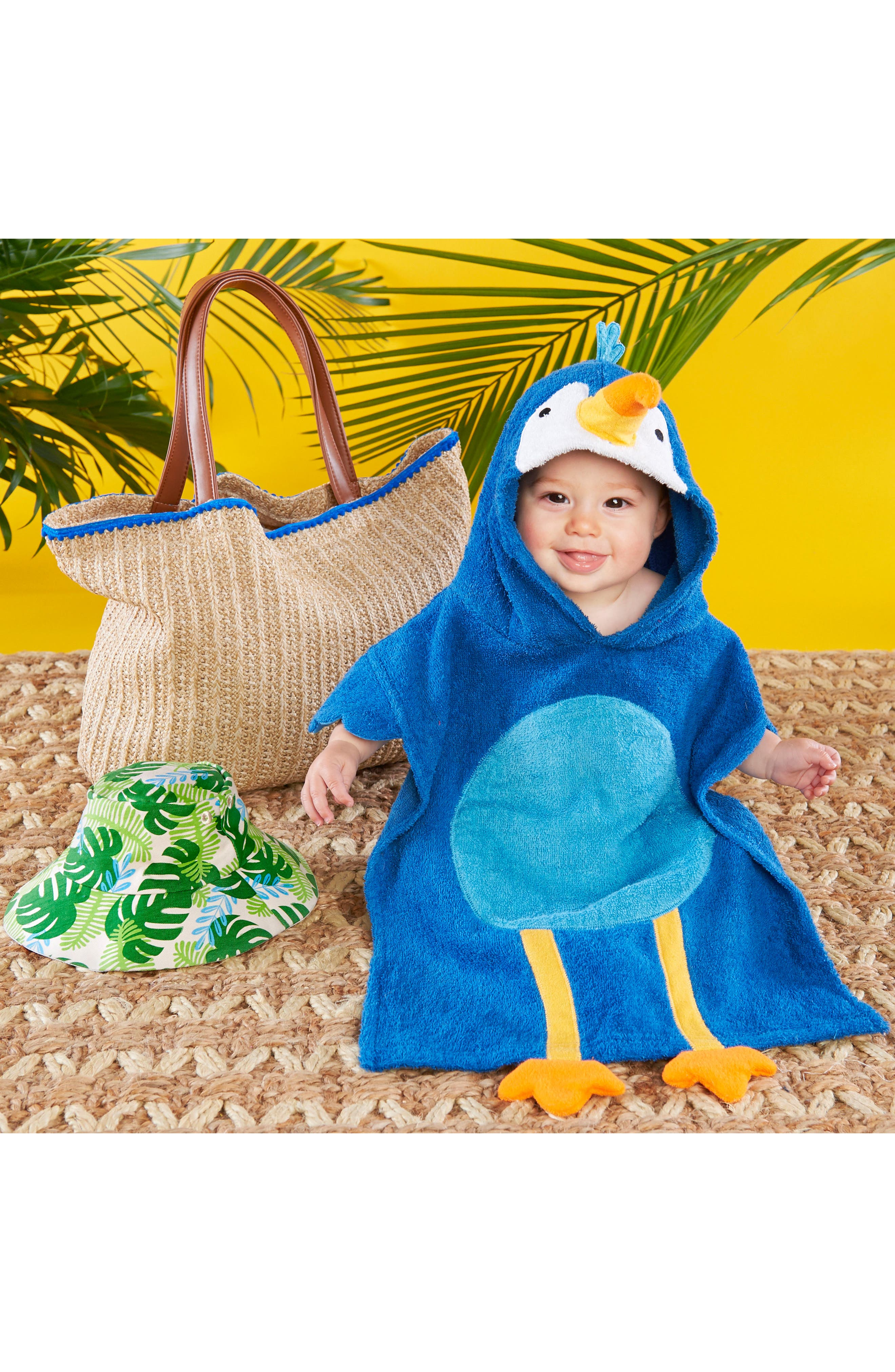 Tropical Hooded Towel, Swimsuit, Sun Hat & Tote Set,                             Alternate thumbnail 2, color,                             BLUE/ GREY/ WHITE/ BROWN