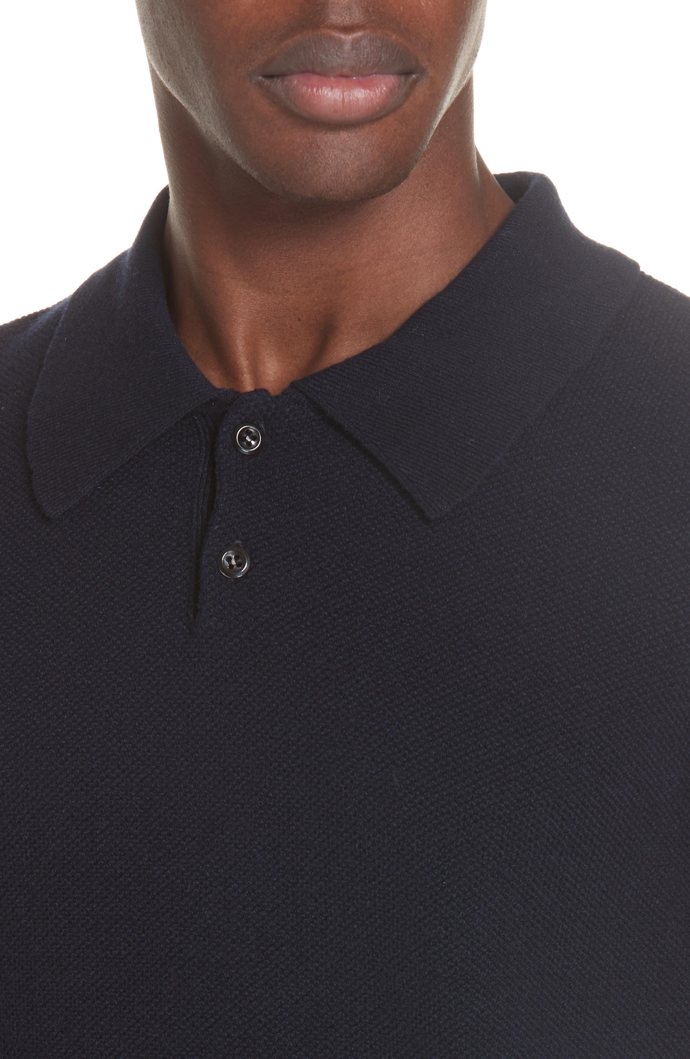 Wool & Cashmere Long Sleeve Polo,                             Alternate thumbnail 4, color,                             IAK NAVY