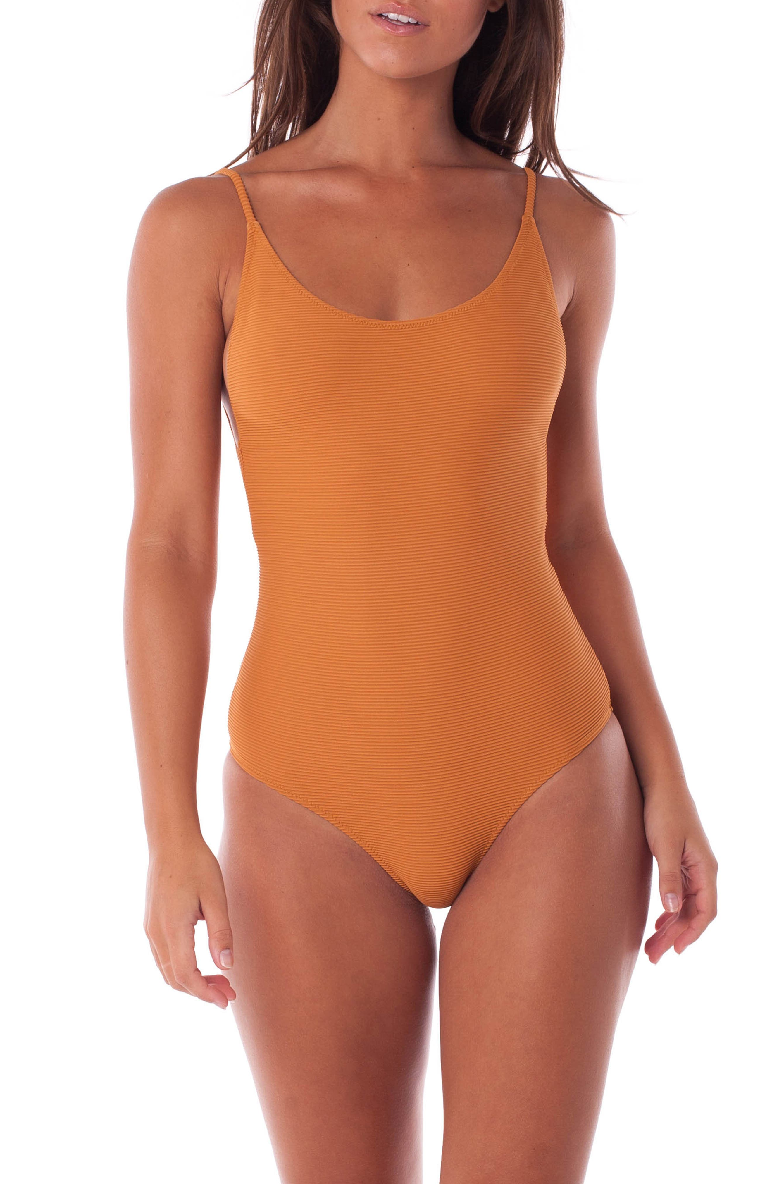 Rhythm Palm Springs Ribbed One-Piece Swimsuit, Brown
