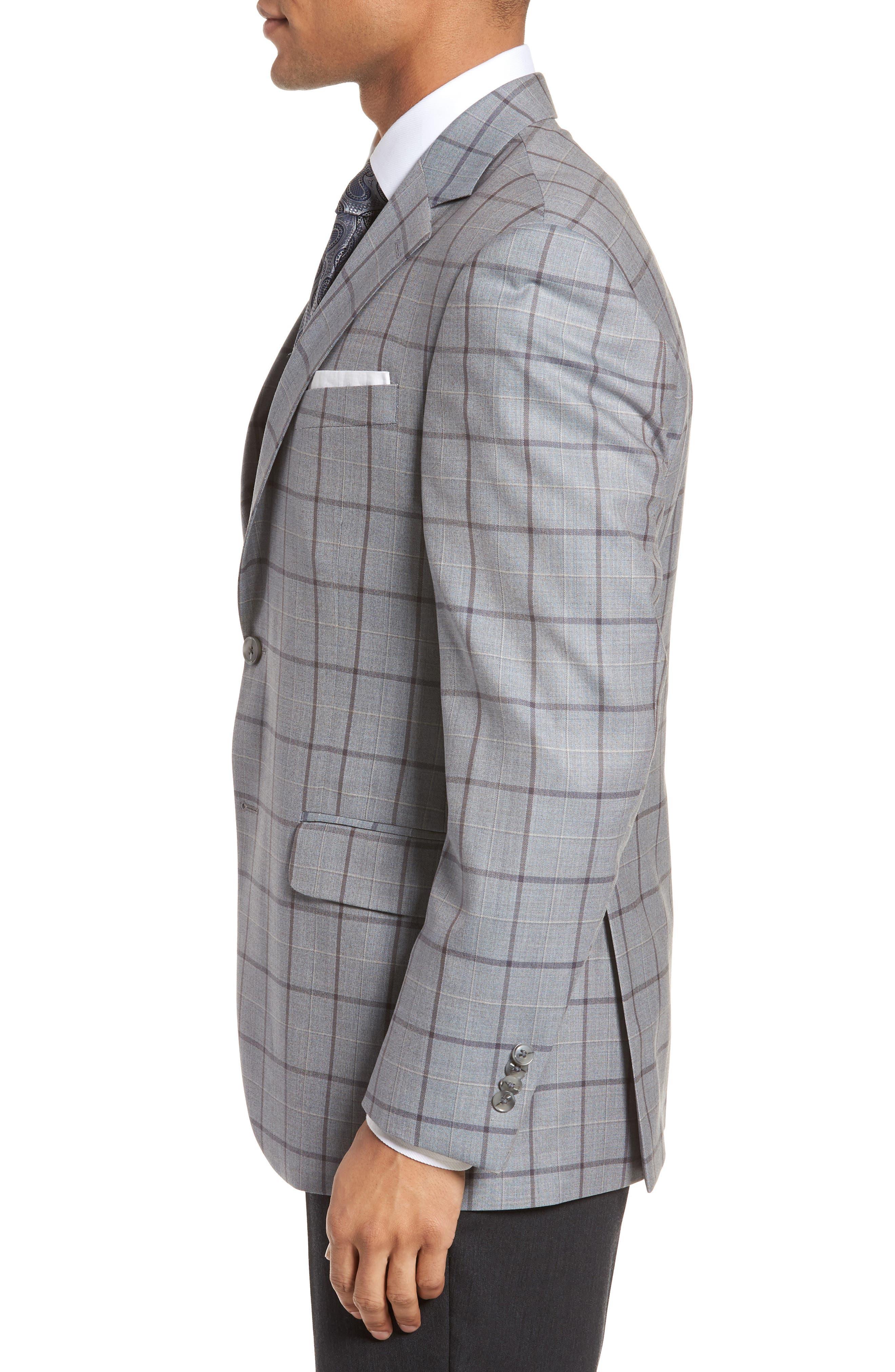 Classic Fit Windowpane Wool Sport Coat,                             Alternate thumbnail 3, color,                             020