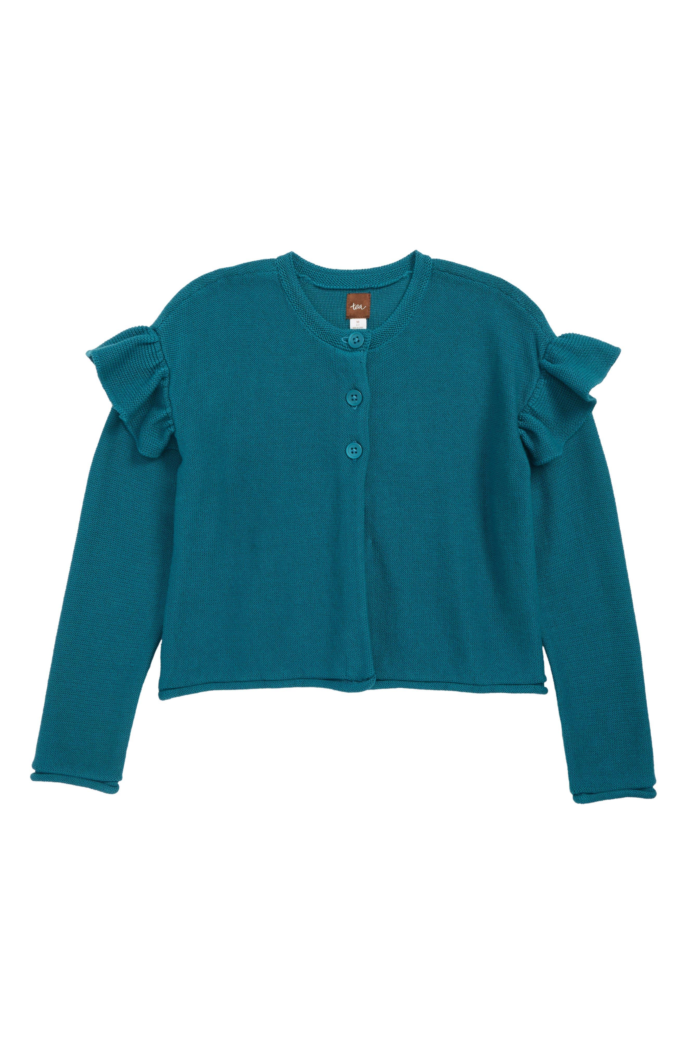 Ruffle Shoulder Cardigan,                         Main,                         color, OASIS