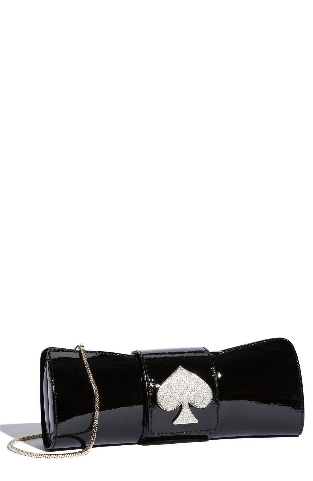 KATE SPADE NEW YORK 'sparkle spade bow' clutch, Main, color, 001